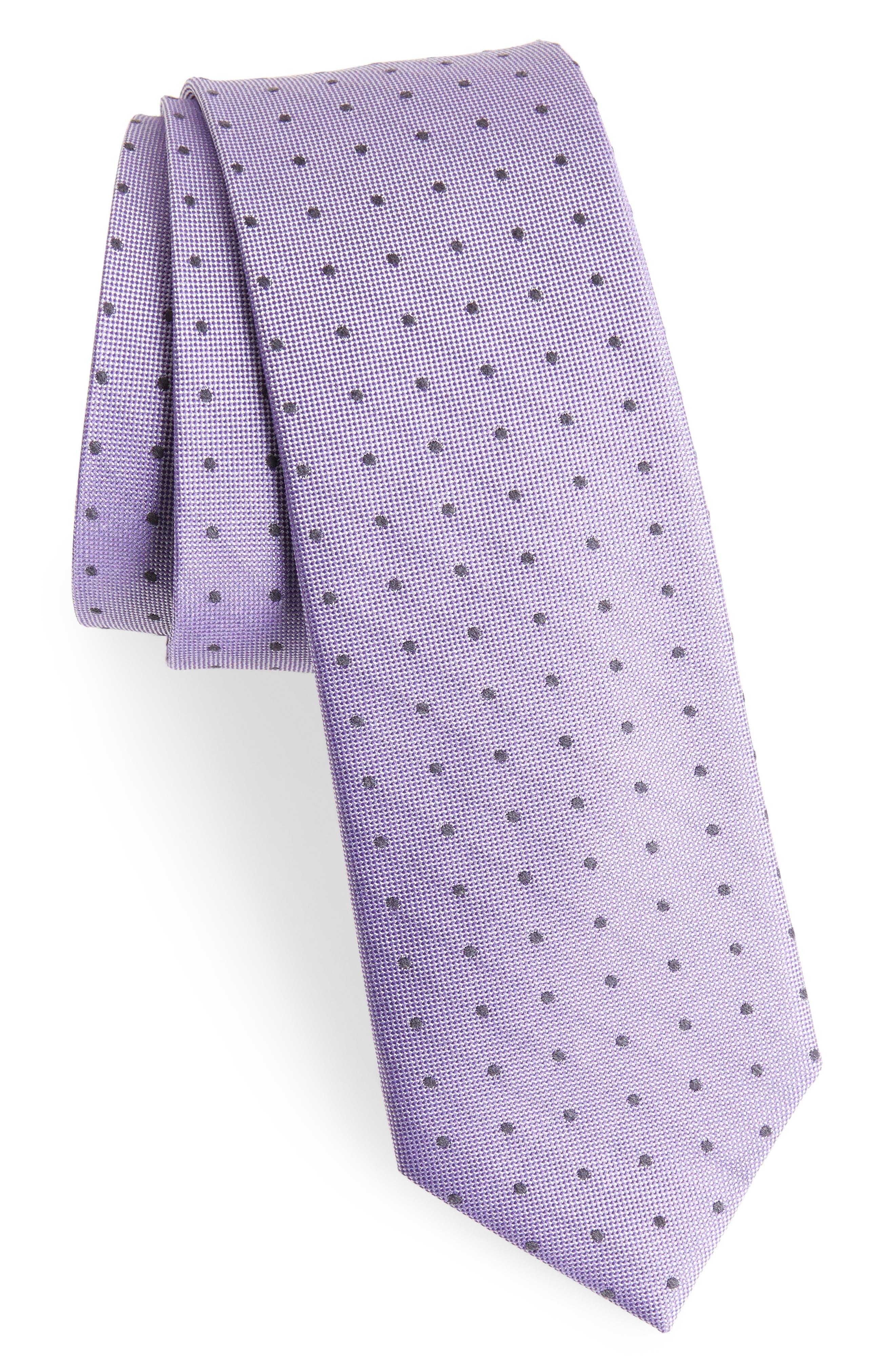 Dot Silk Blend Skinny Tie,                             Main thumbnail 5, color,