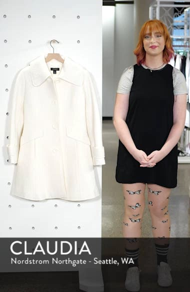 Boiled Wool Blend Fit & Flare Coat, sales video thumbnail