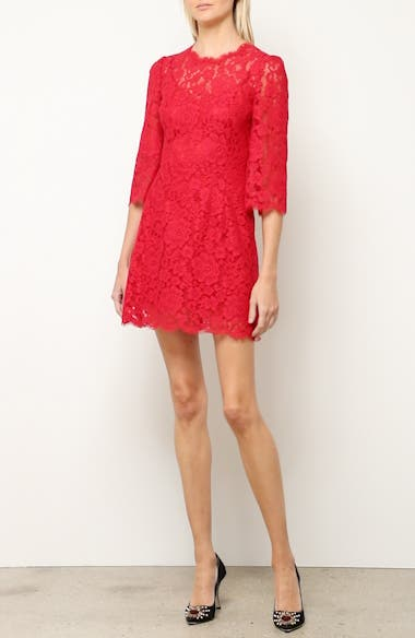 Lace Trim Floral Print Cady Dress, video thumbnail
