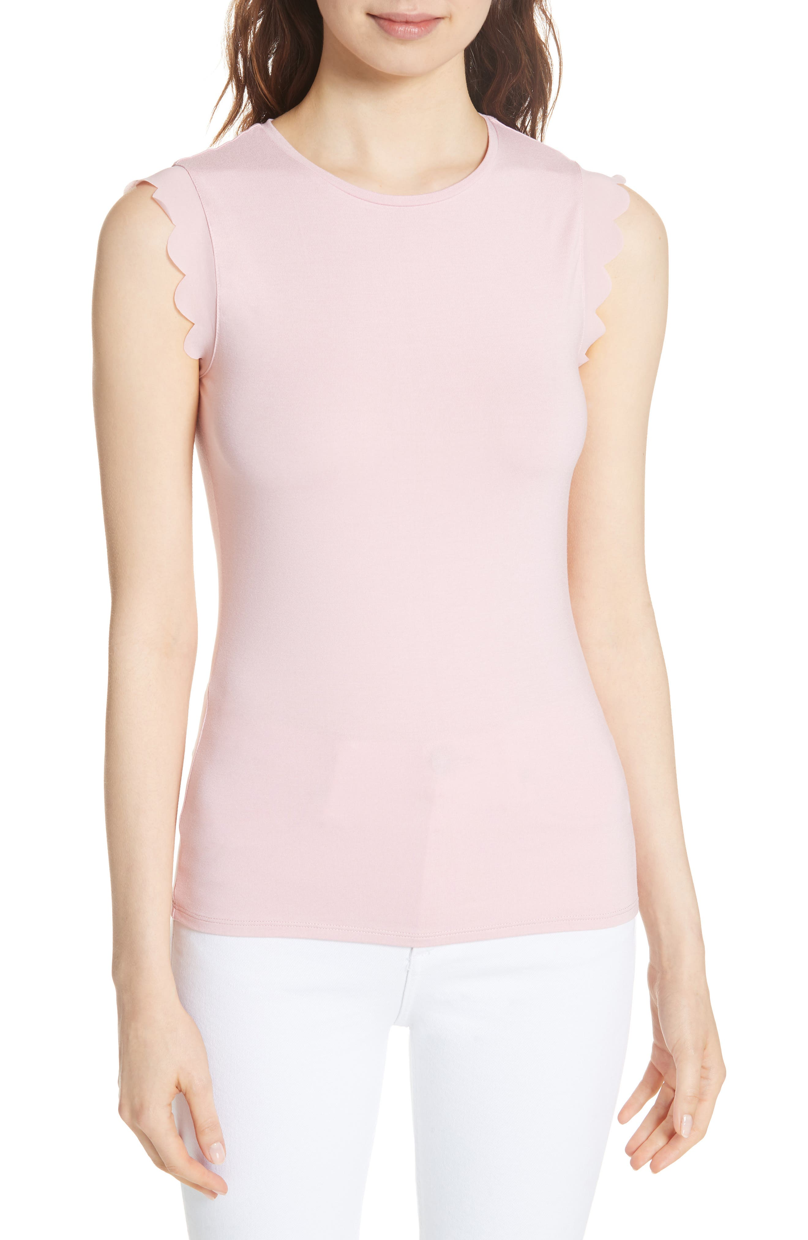 Scalloped Fitted Tee,                             Main thumbnail 2, color,