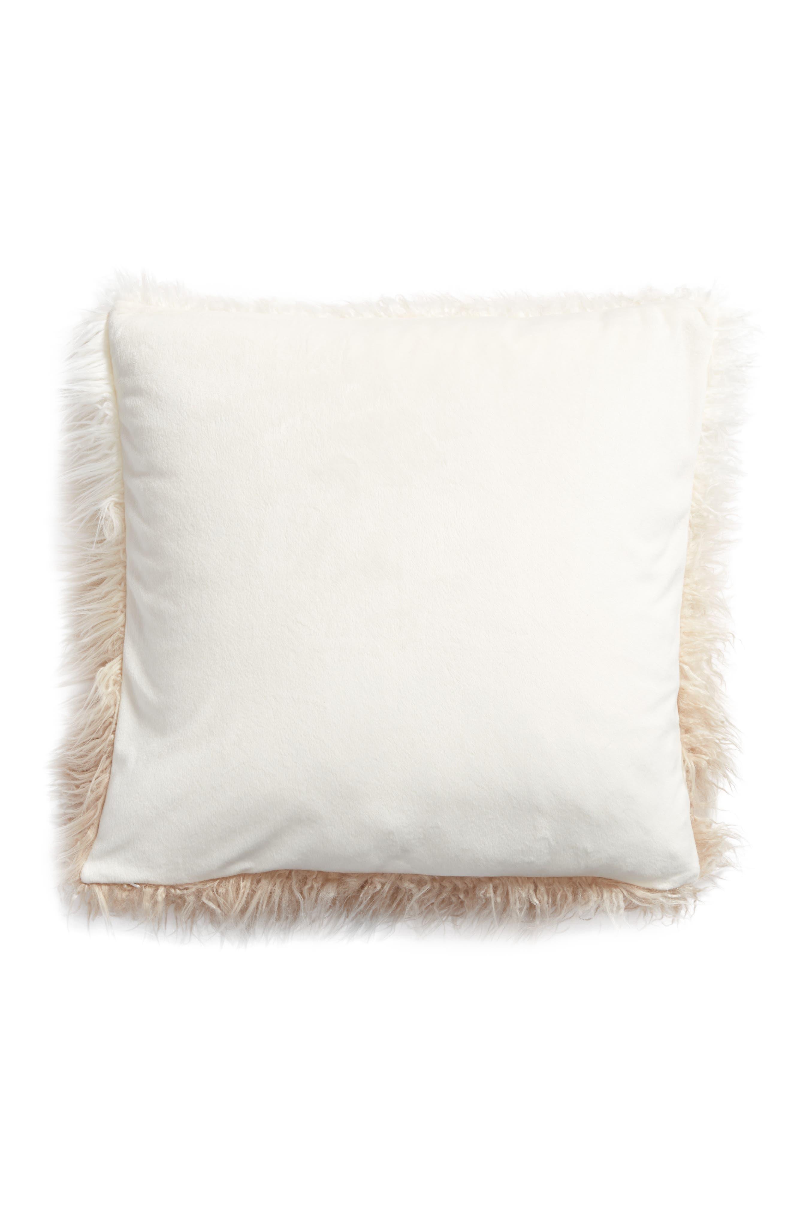 Ombré Faux Fur Flokati Accent Pillow,                             Alternate thumbnail 10, color,
