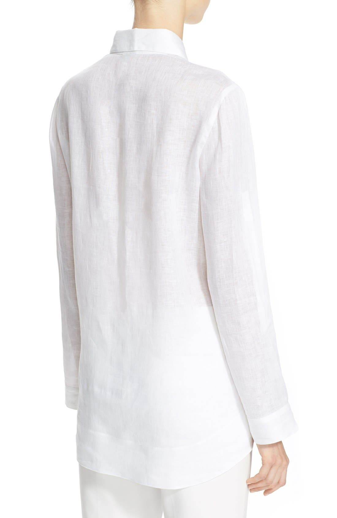 ARMANI COLLEZIONI,                             Linen Tuxedo Shirt,                             Alternate thumbnail 6, color,                             100