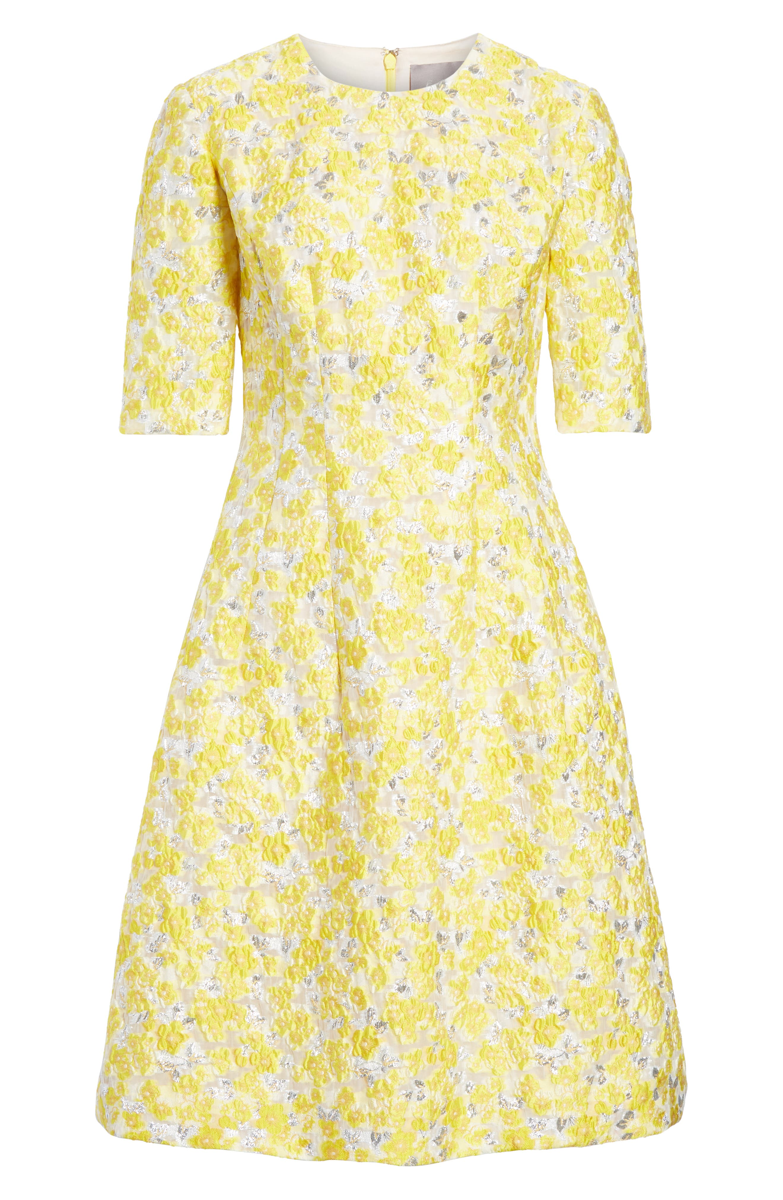 Holly Metallic Floral Fil Coupé Fit & Flare Dress,                             Alternate thumbnail 6, color,                             YELLOW