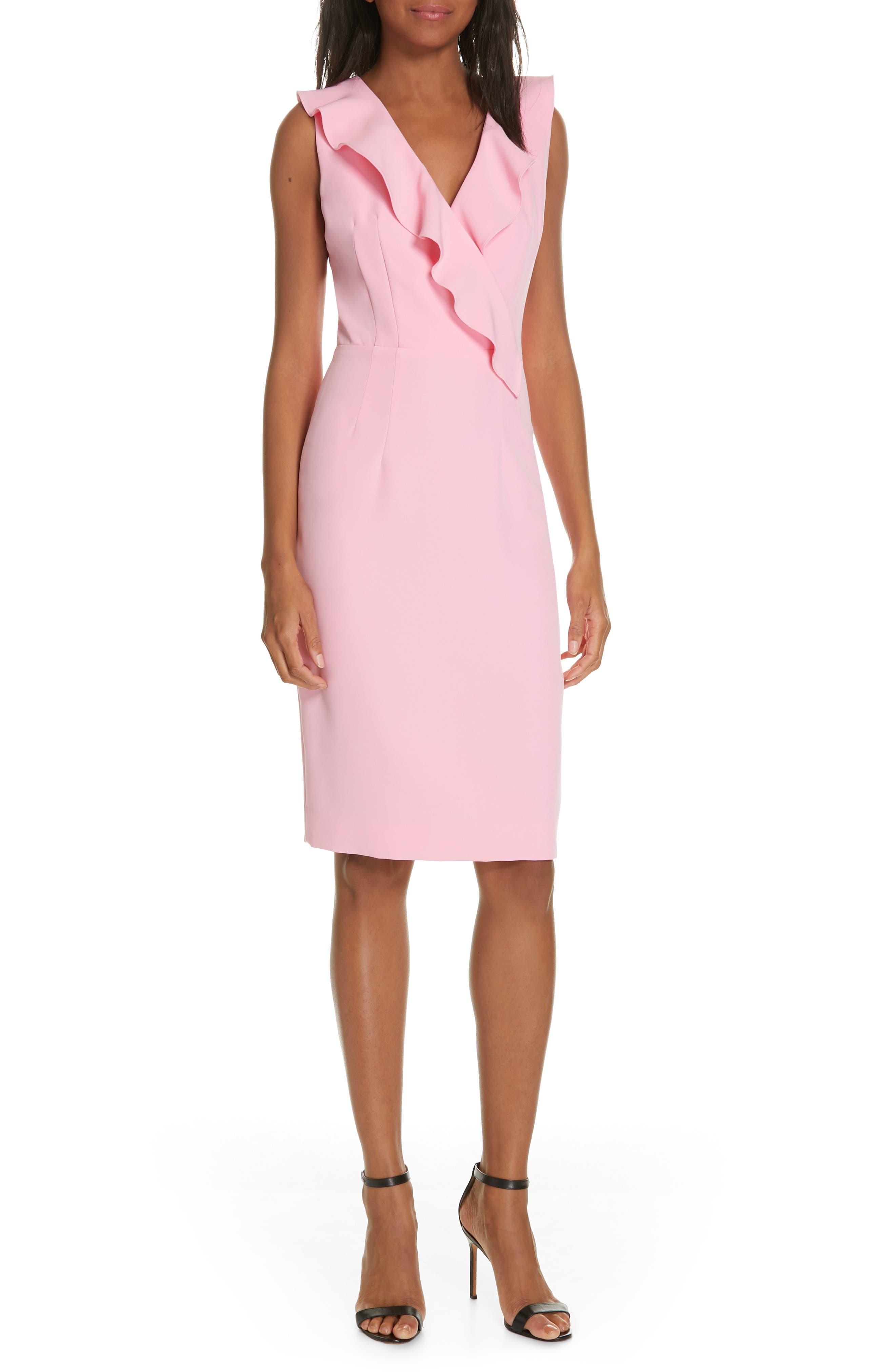 Milly Dresses LUNA RUFFLE DETAIL CADY SHEATH DRESS