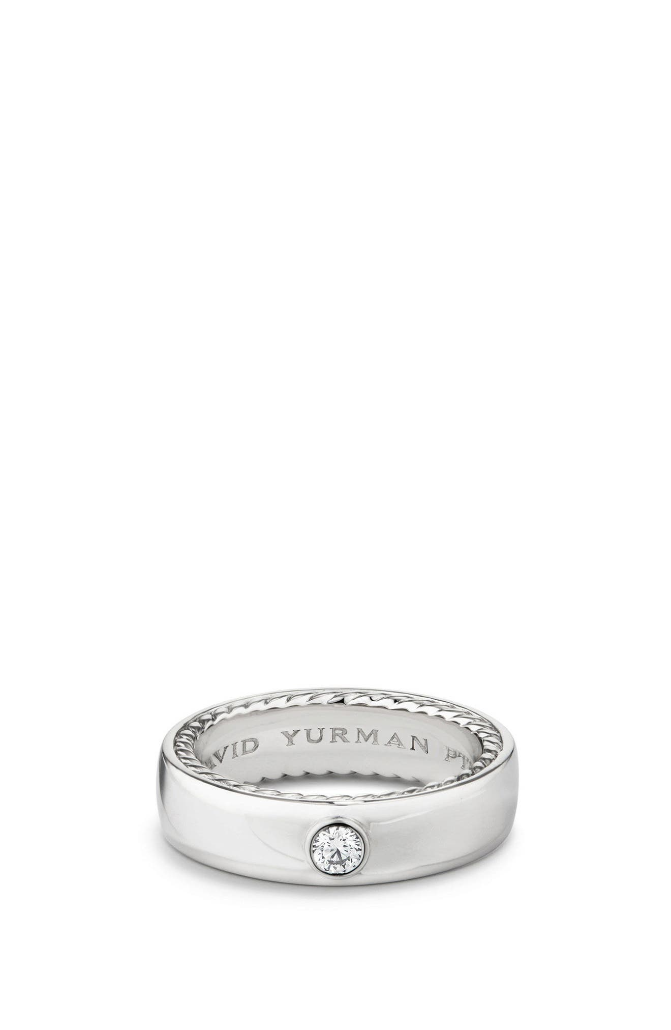 Streamline Band Ring with Diamond, 6mm,                             Main thumbnail 1, color,                             PLATINUM