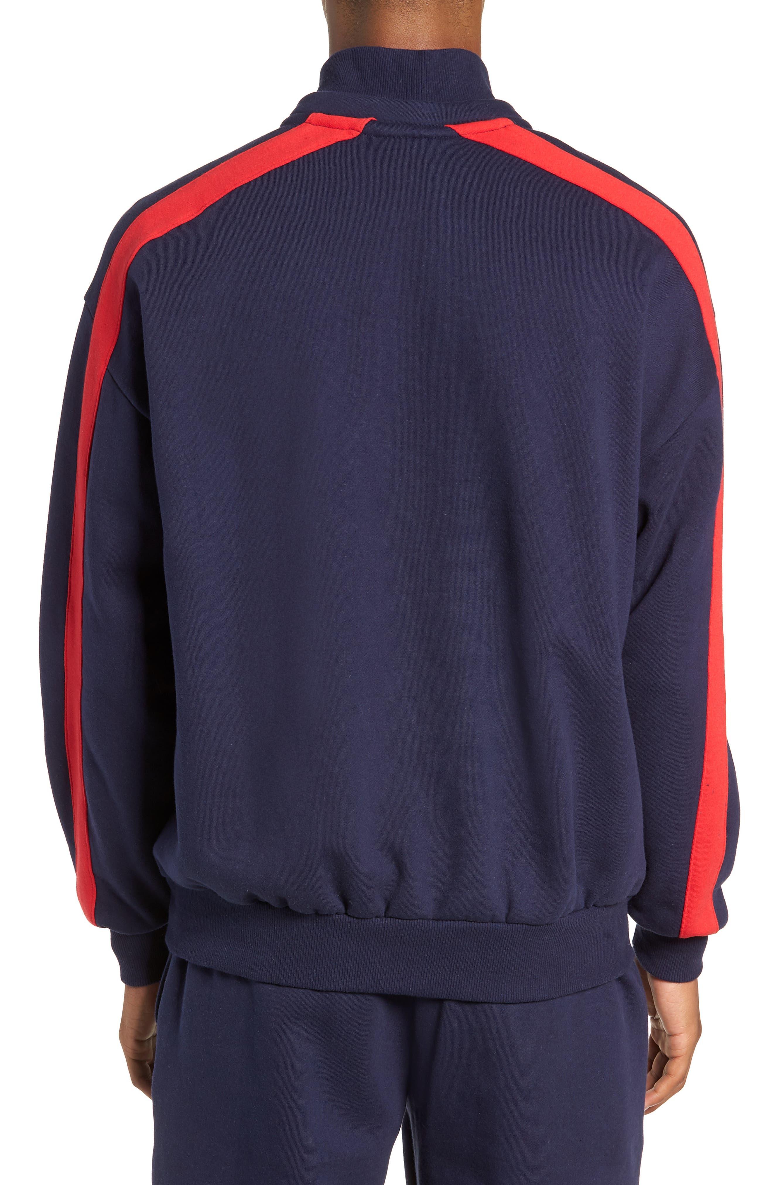 Quarter Zip Sweatshirt,                             Alternate thumbnail 2, color,                             PEACOAT/ WHITE/ CHINESE RED
