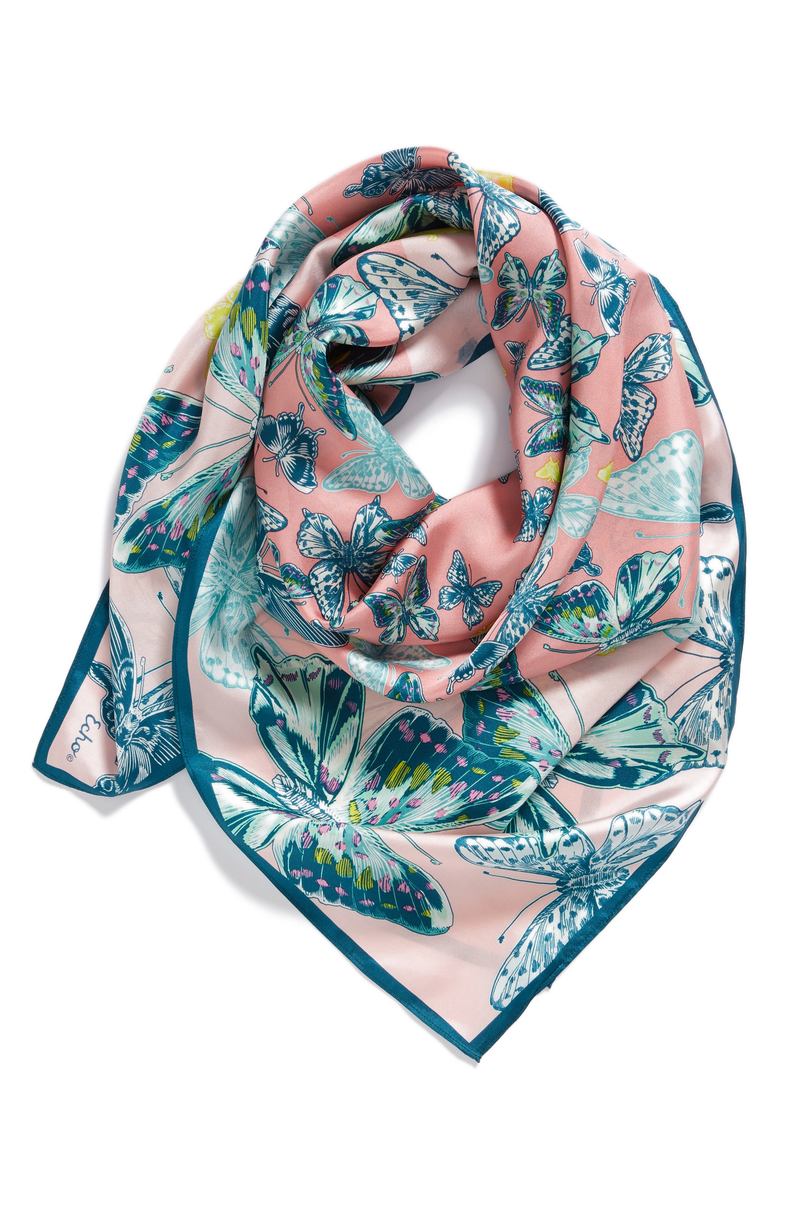 Butterfly Silk Scarf,                             Alternate thumbnail 4, color,