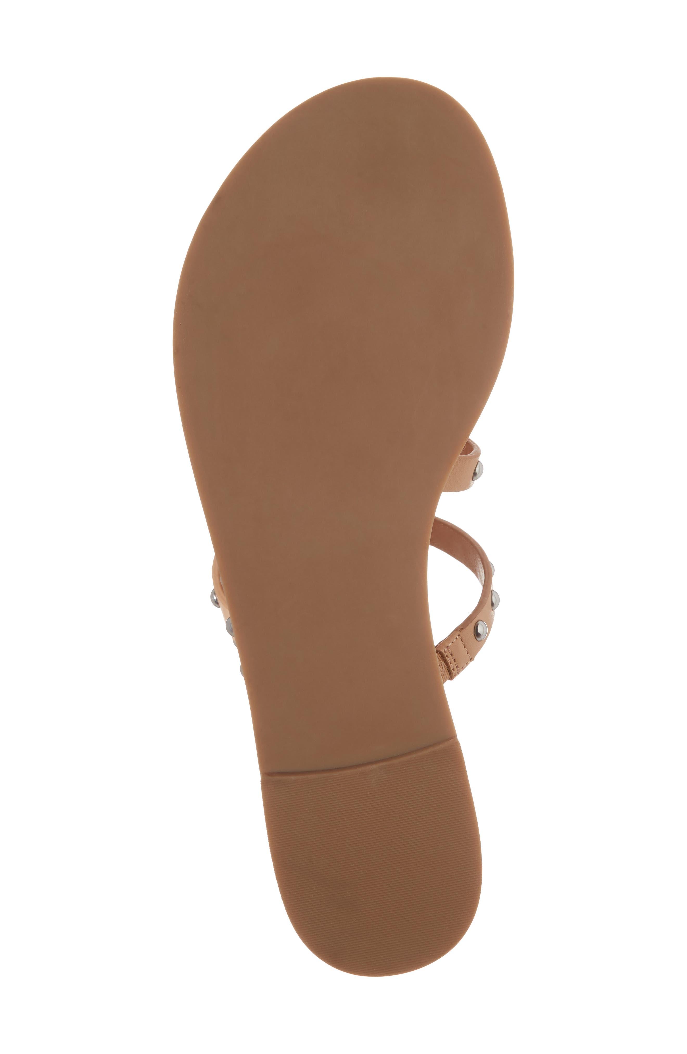 Patos Studded Thong Sandal,                             Alternate thumbnail 6, color,                             NATURAL VACHETTA