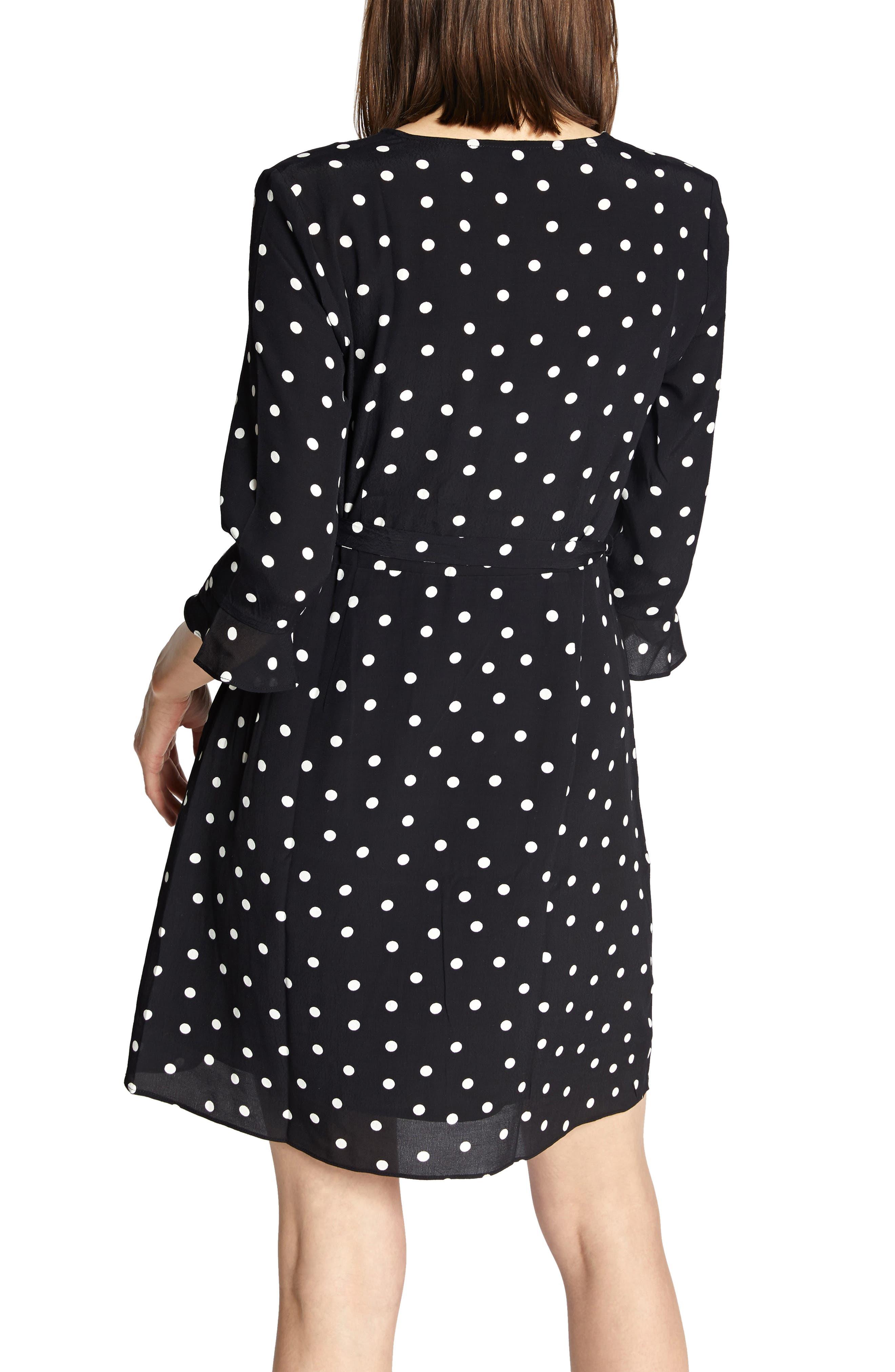 Faux Wrap Eye Candy Dress,                             Alternate thumbnail 2, color,                             BLACK DOTS