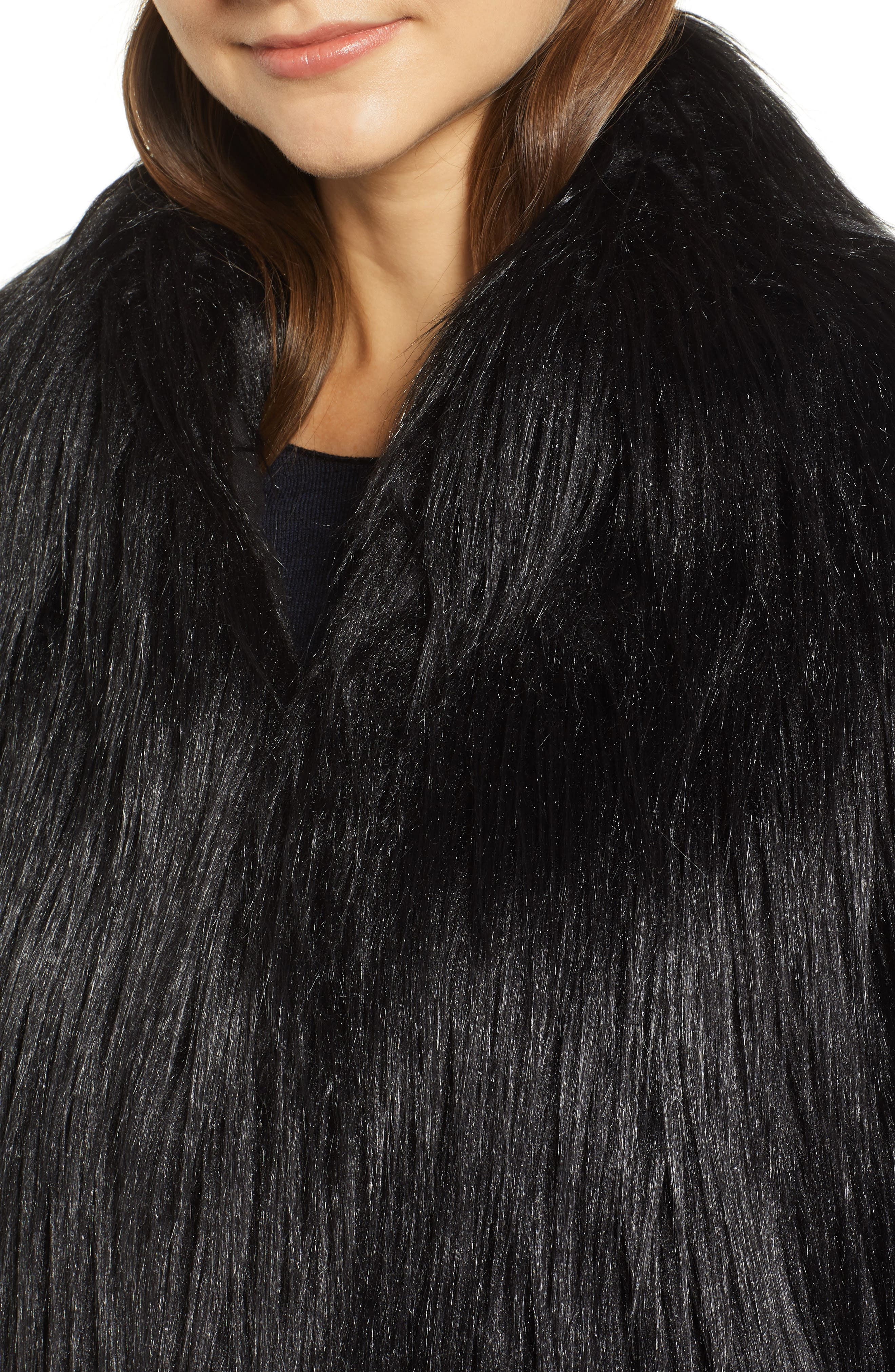 Fridas Faux Fur Coat,                             Alternate thumbnail 4, color,                             NOIR
