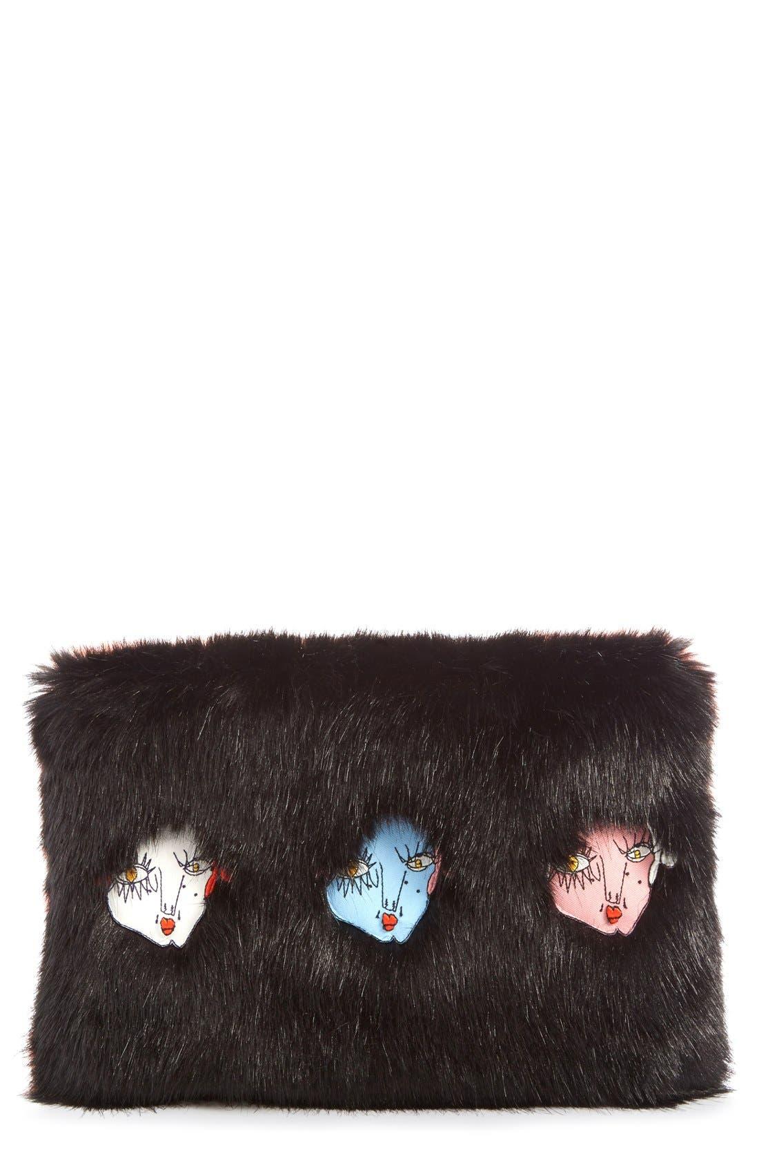 'Damsel' Faux Fur Clutch,                             Main thumbnail 1, color,                             001
