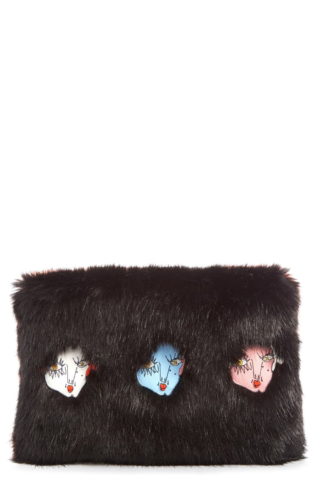 'Damsel' Faux Fur Clutch,                         Main,                         color, 001
