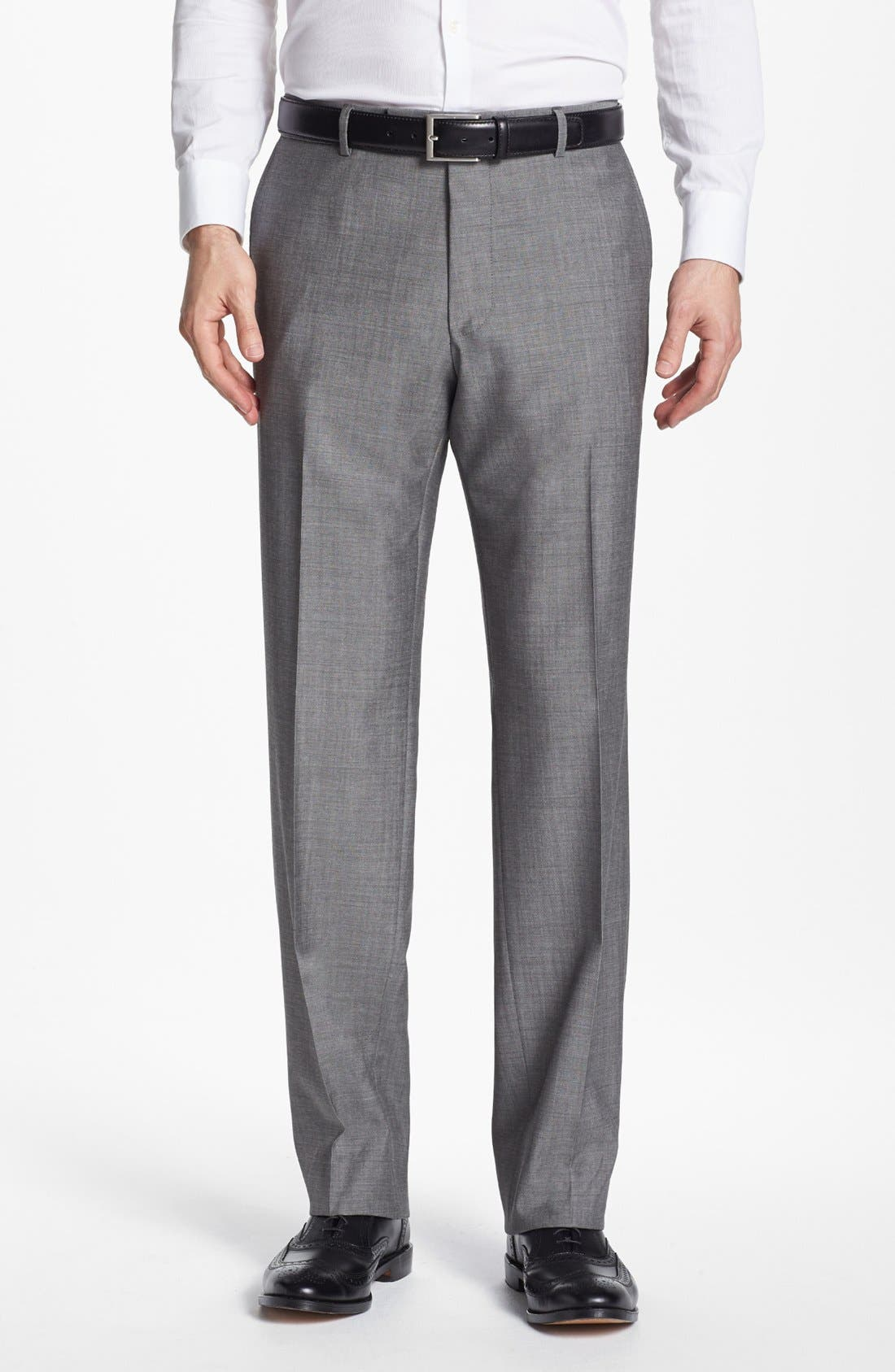 BOSS HUGO BOSS 'Jeffrey US' Flat Front Pinpoint Wool Trousers,                         Main,                         color, 022