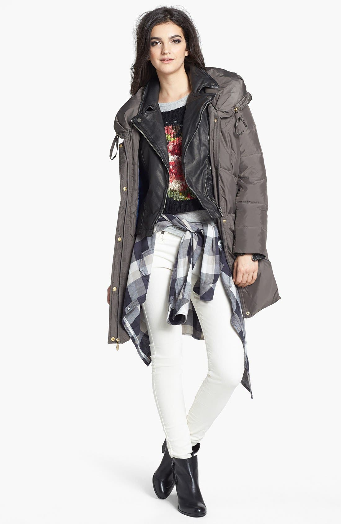 Distressed Faux Leather Moto Jacket,                             Alternate thumbnail 4, color,                             001