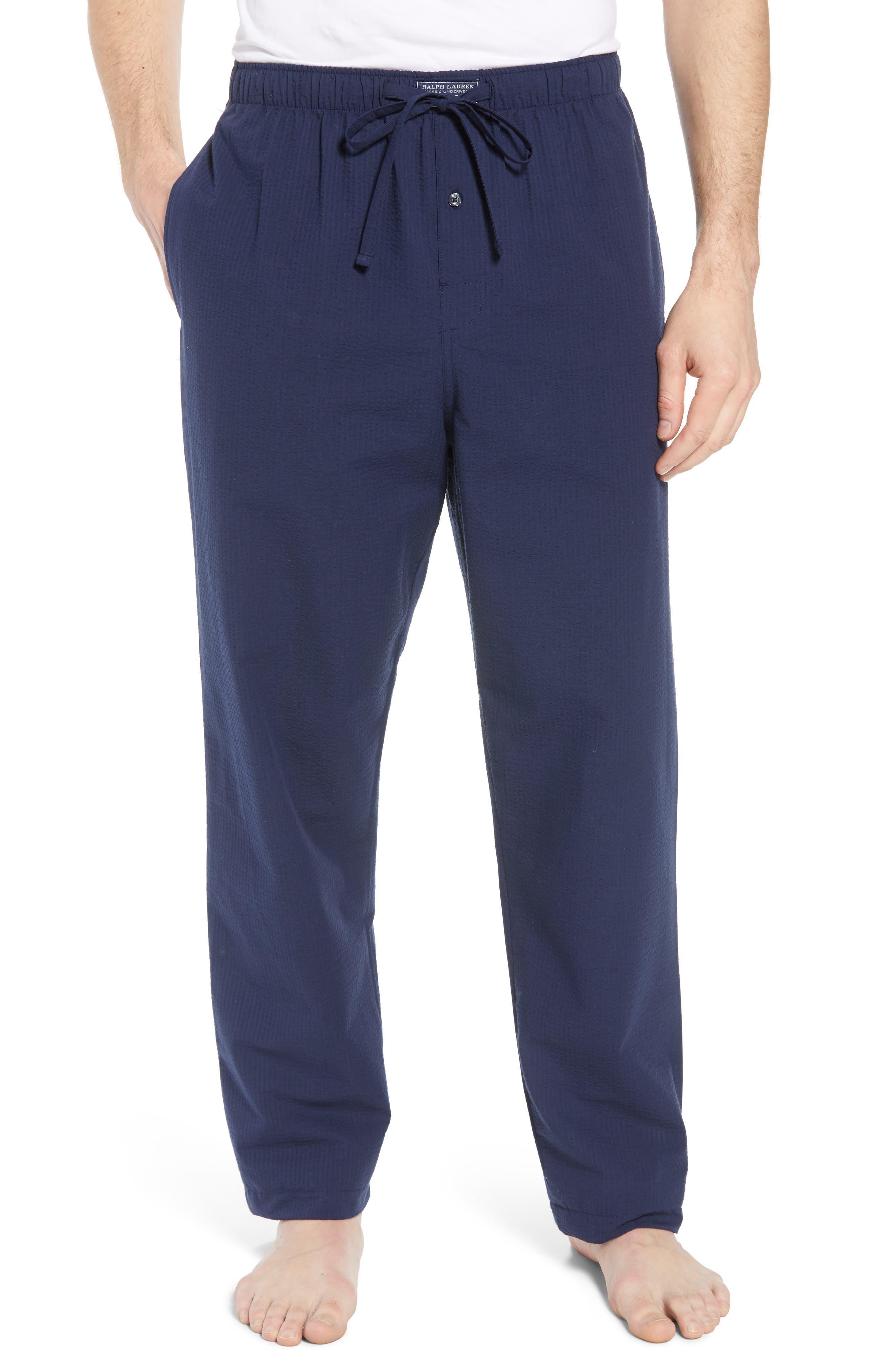 Seersucker Pajama Pants,                         Main,                         color, NAVY SEERSUCKER