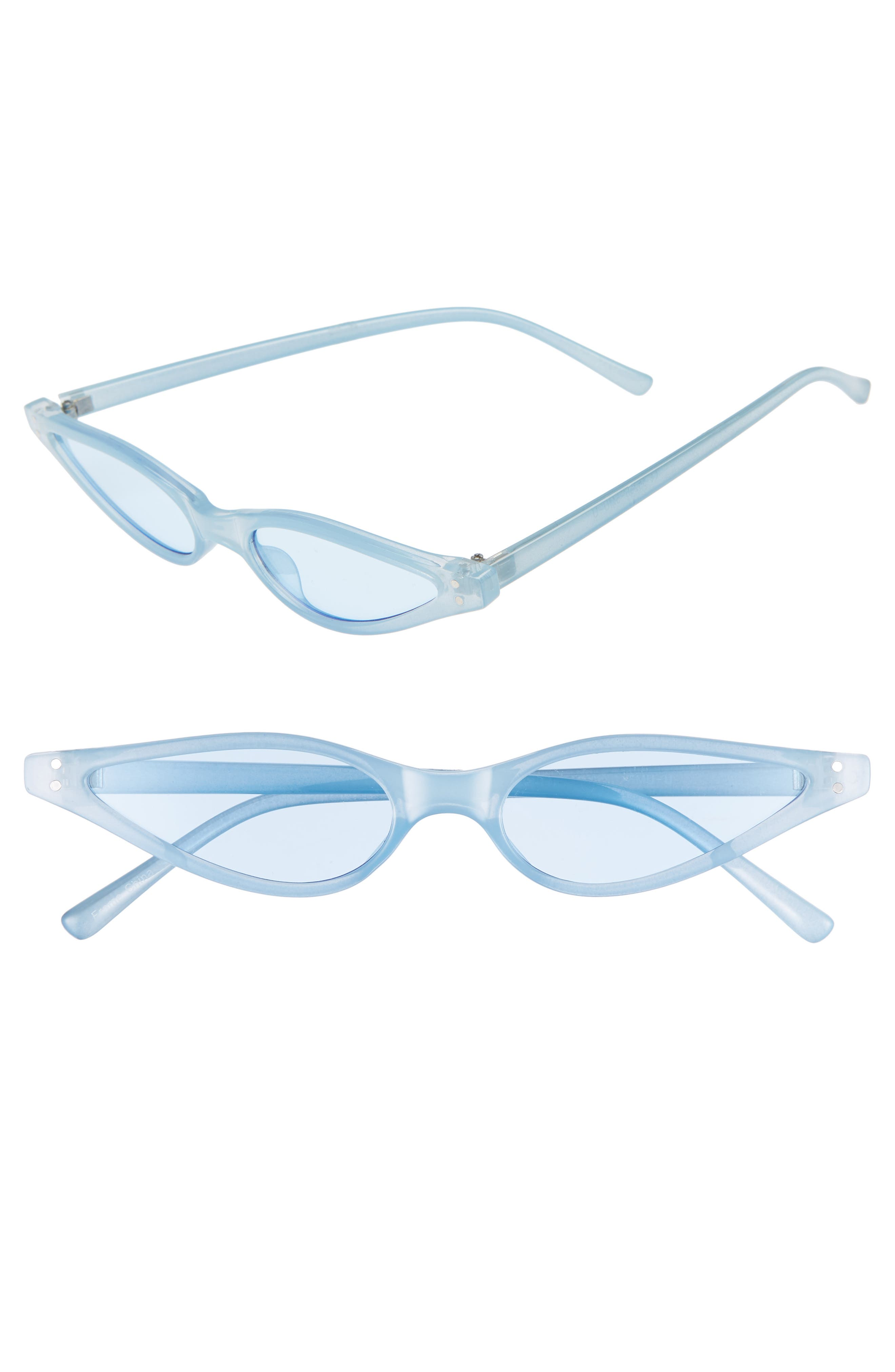 Exaggerated 54mm Mini Cat Eye Sunglasses,                         Main,                         color, BLUE