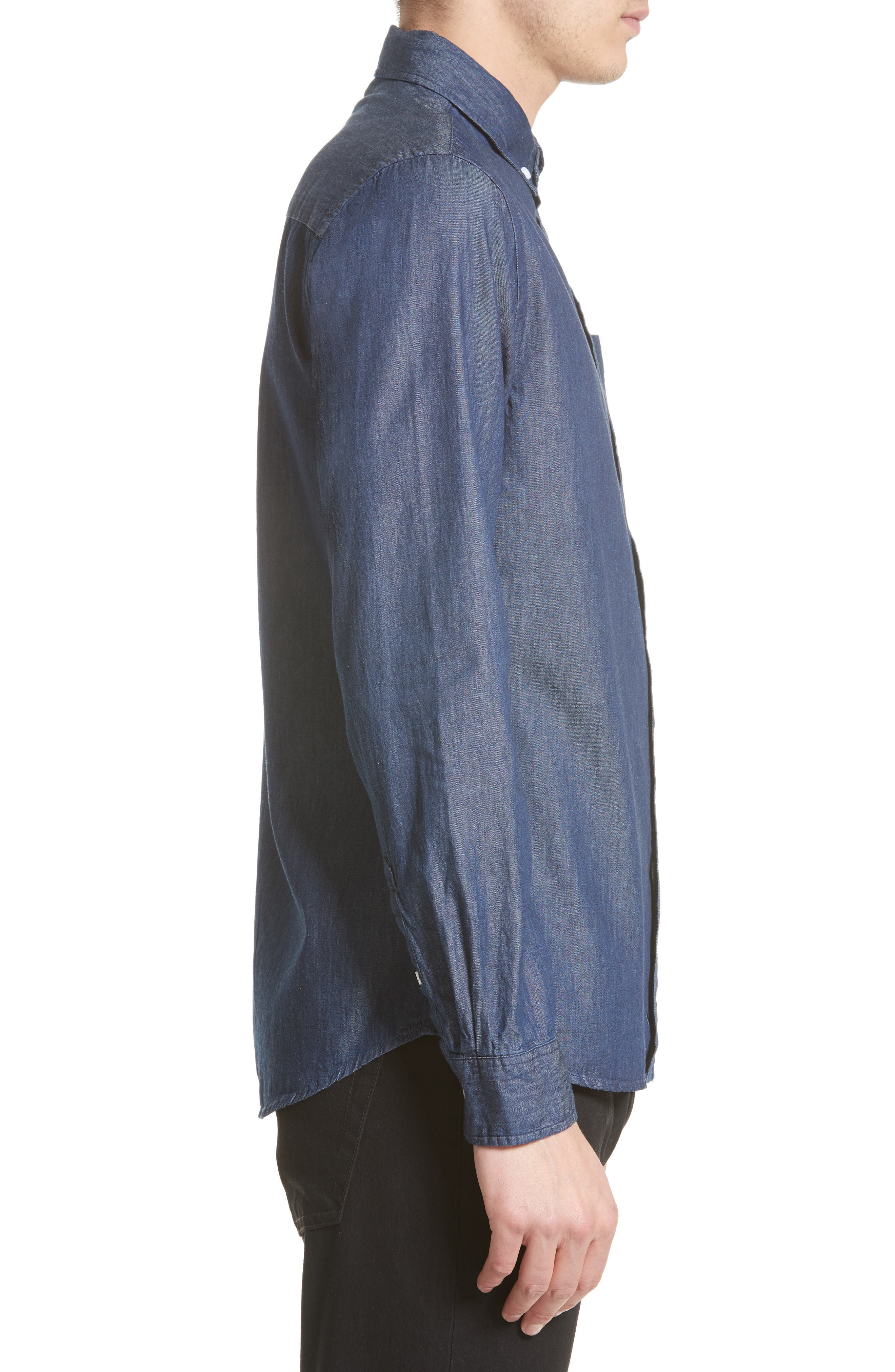 Crosby Denim Slim Fit Sport Shirt,                             Alternate thumbnail 4, color,                             INDIGO