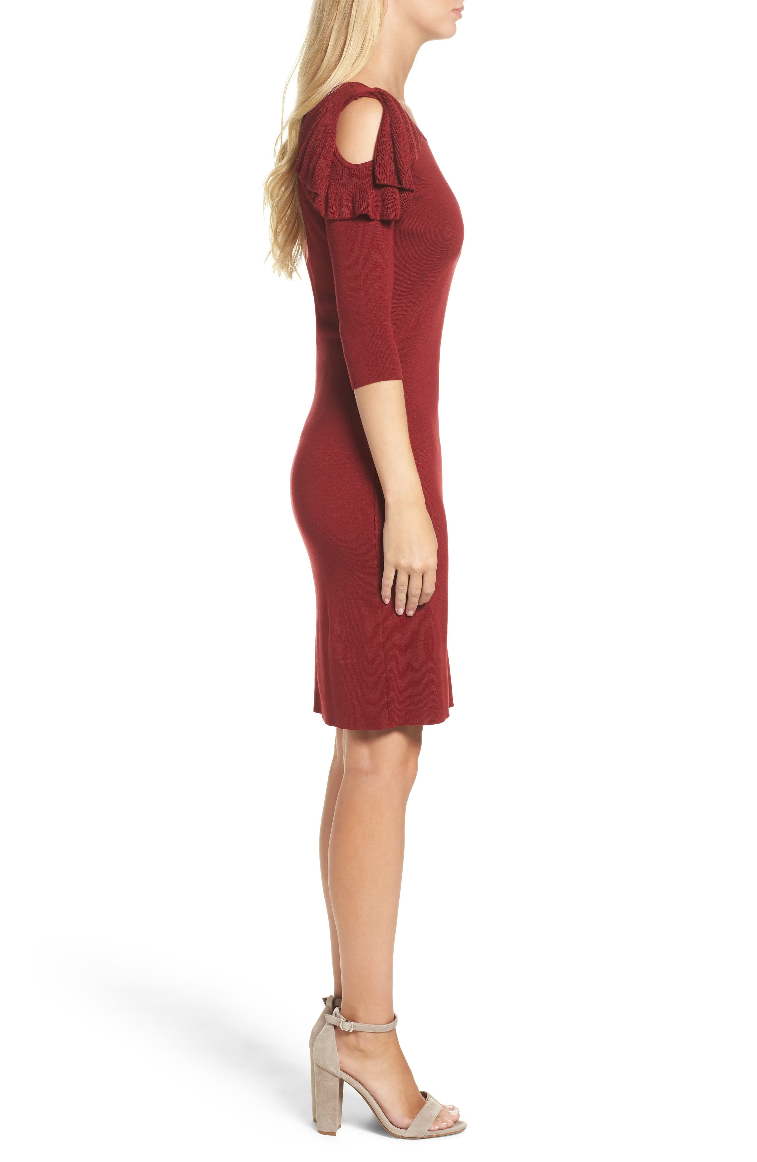 Ruffle Cold Shoulder Sweater Dress,                             Alternate thumbnail 3, color,                             644