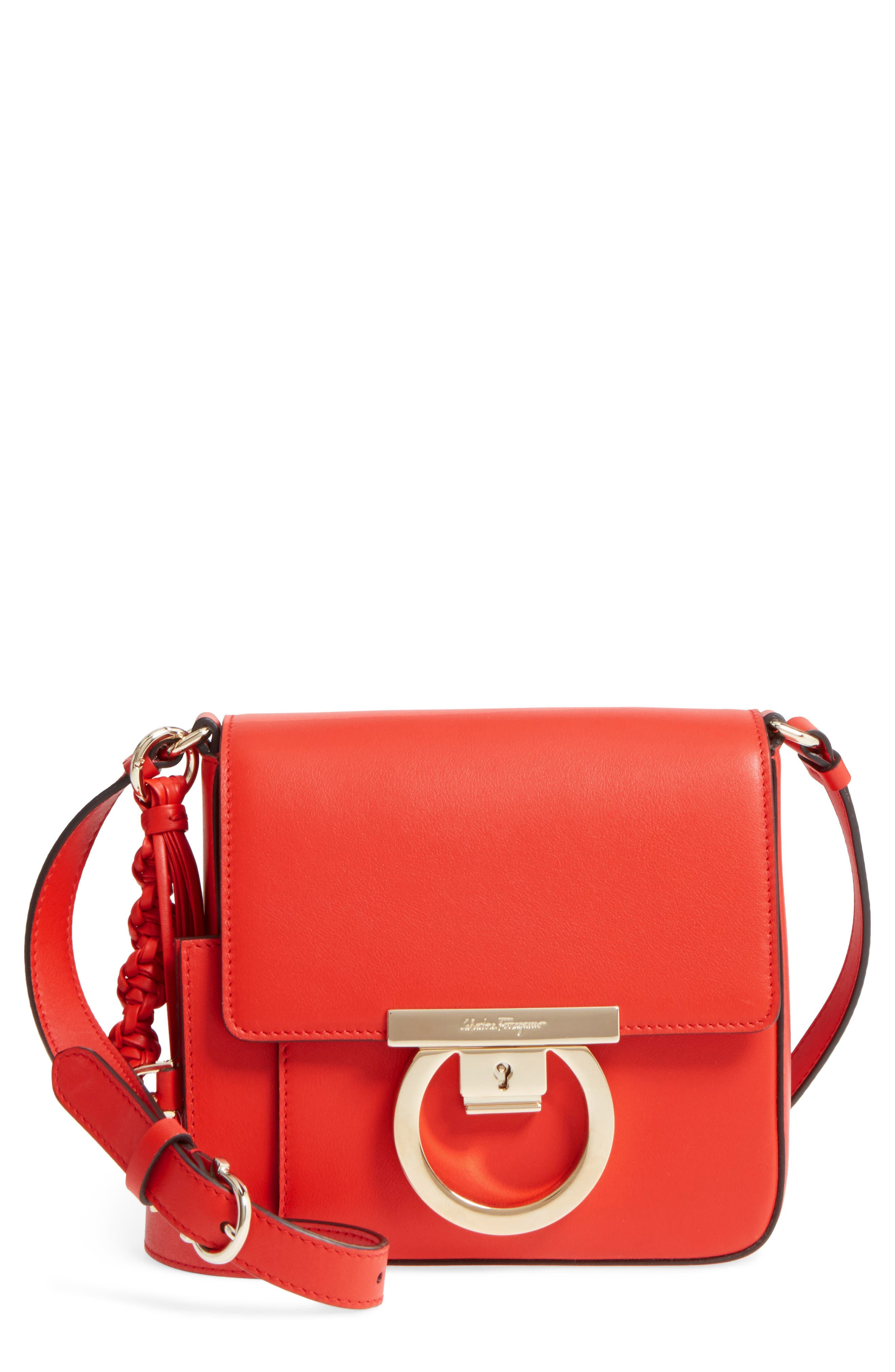 Gancio Lock Leather Crossbody Bag,                         Main,                         color, 950