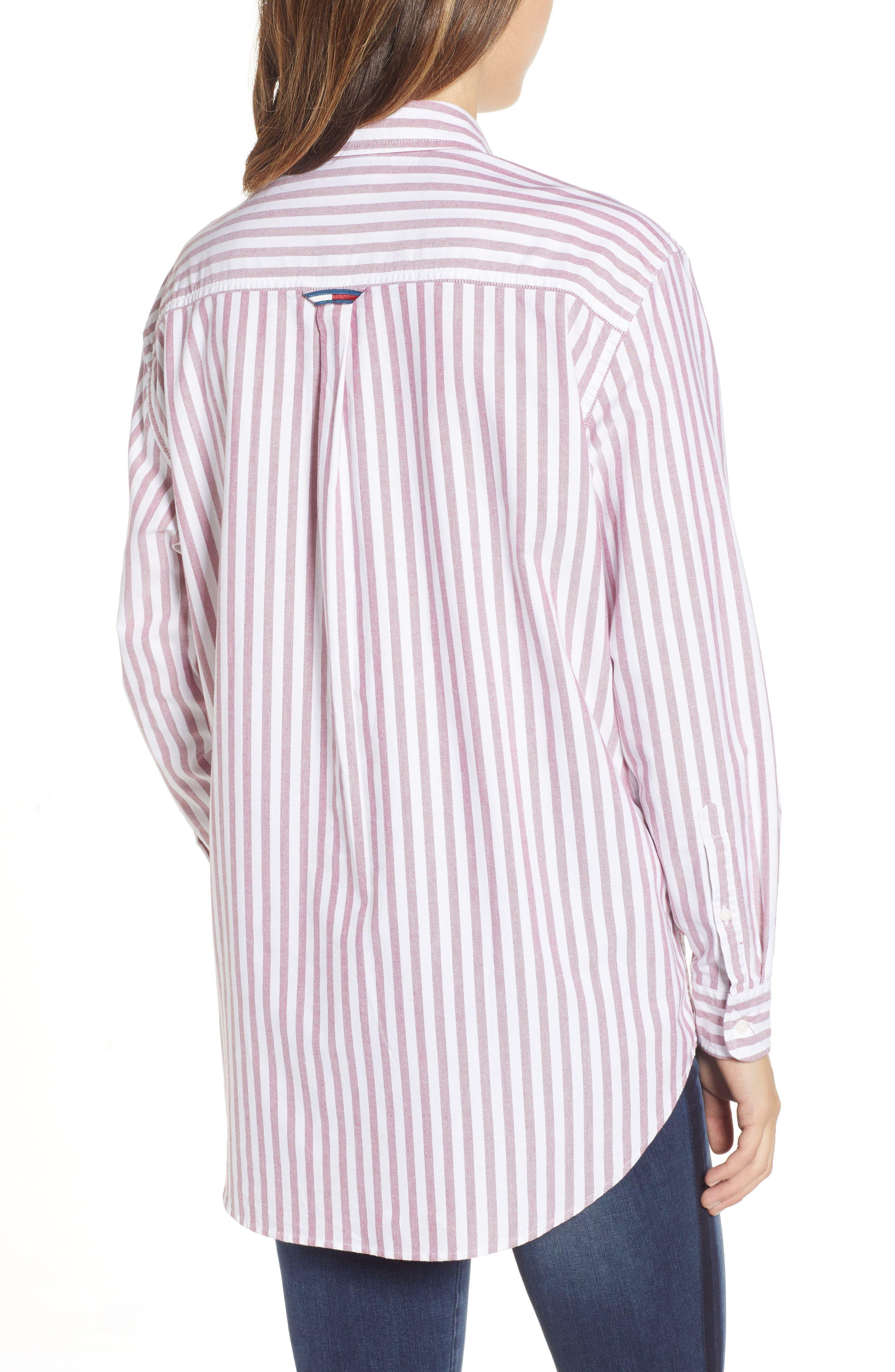 TJW Classics Stripe Shirt,                             Alternate thumbnail 2, color,                             RUMBA RED / BRIGHT WHITE