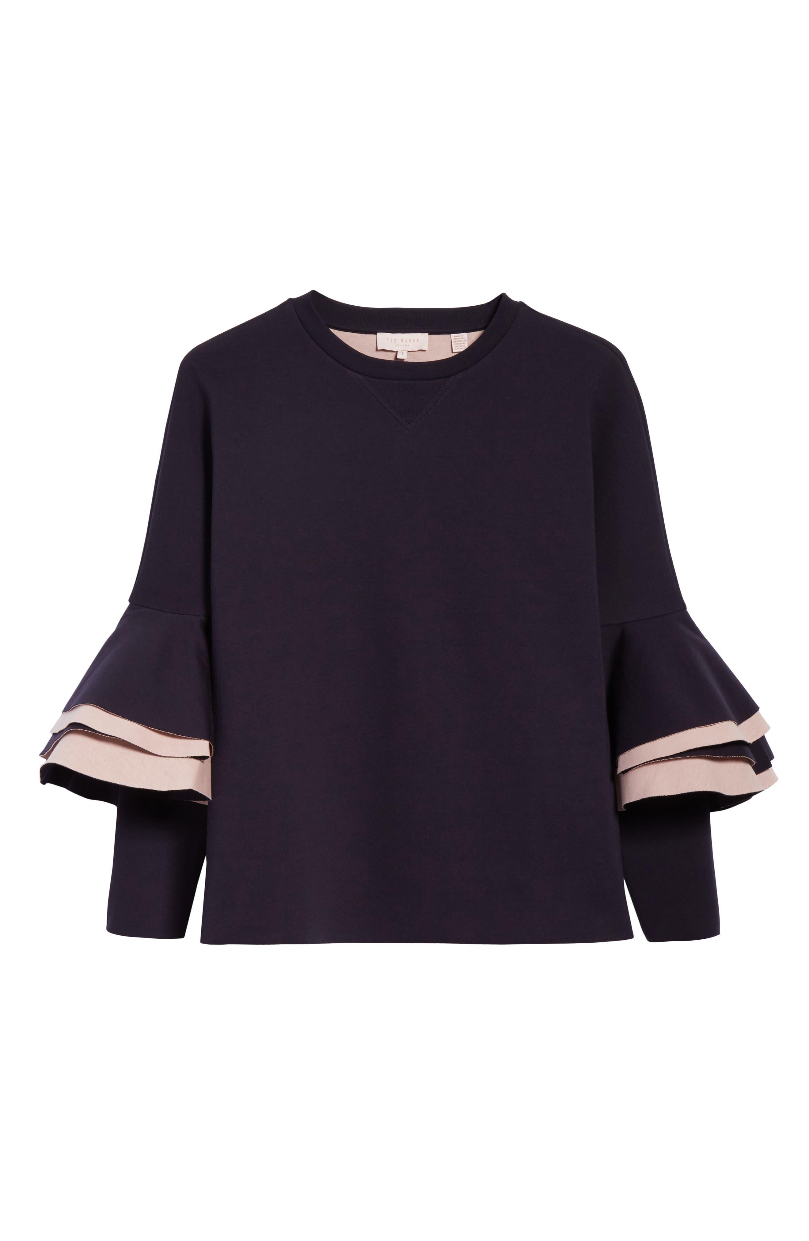 Frill Sleeve Sweatshirt,                             Alternate thumbnail 11, color,