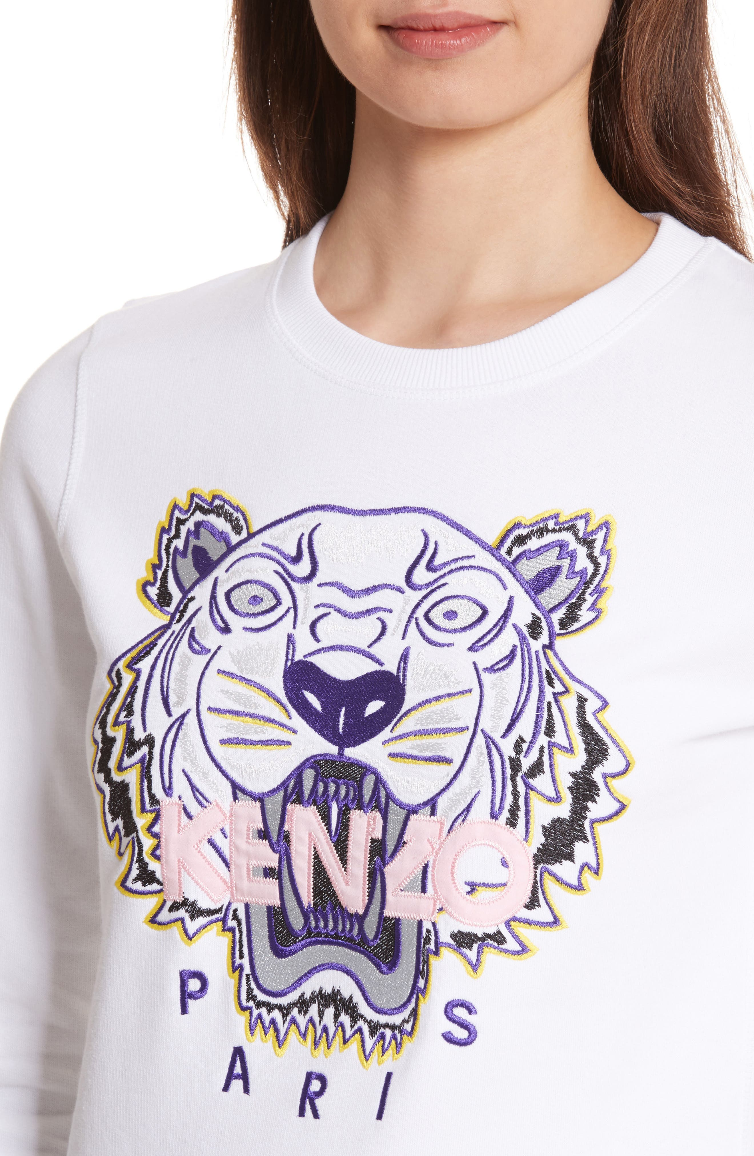 Classic Tiger Sweatshirt,                             Alternate thumbnail 4, color,                             WHITE