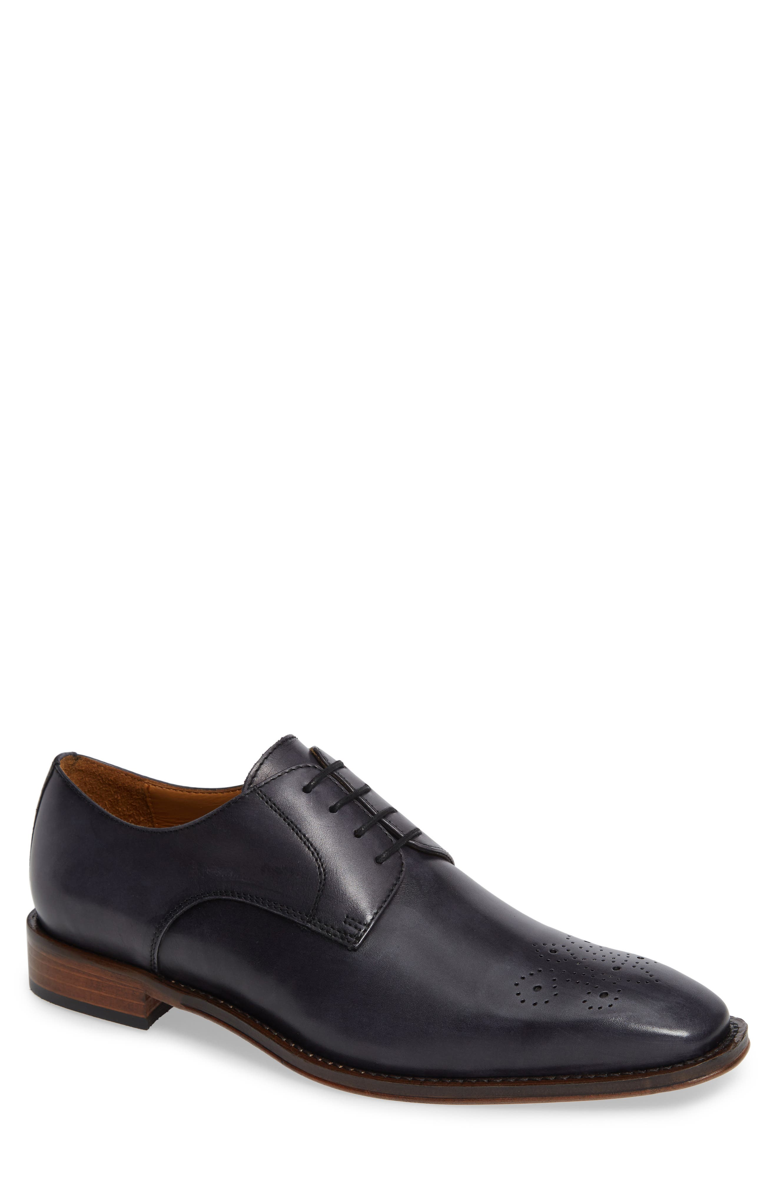 Fiore Medallion Toe Derby,                         Main,                         color, GREY LEATHER