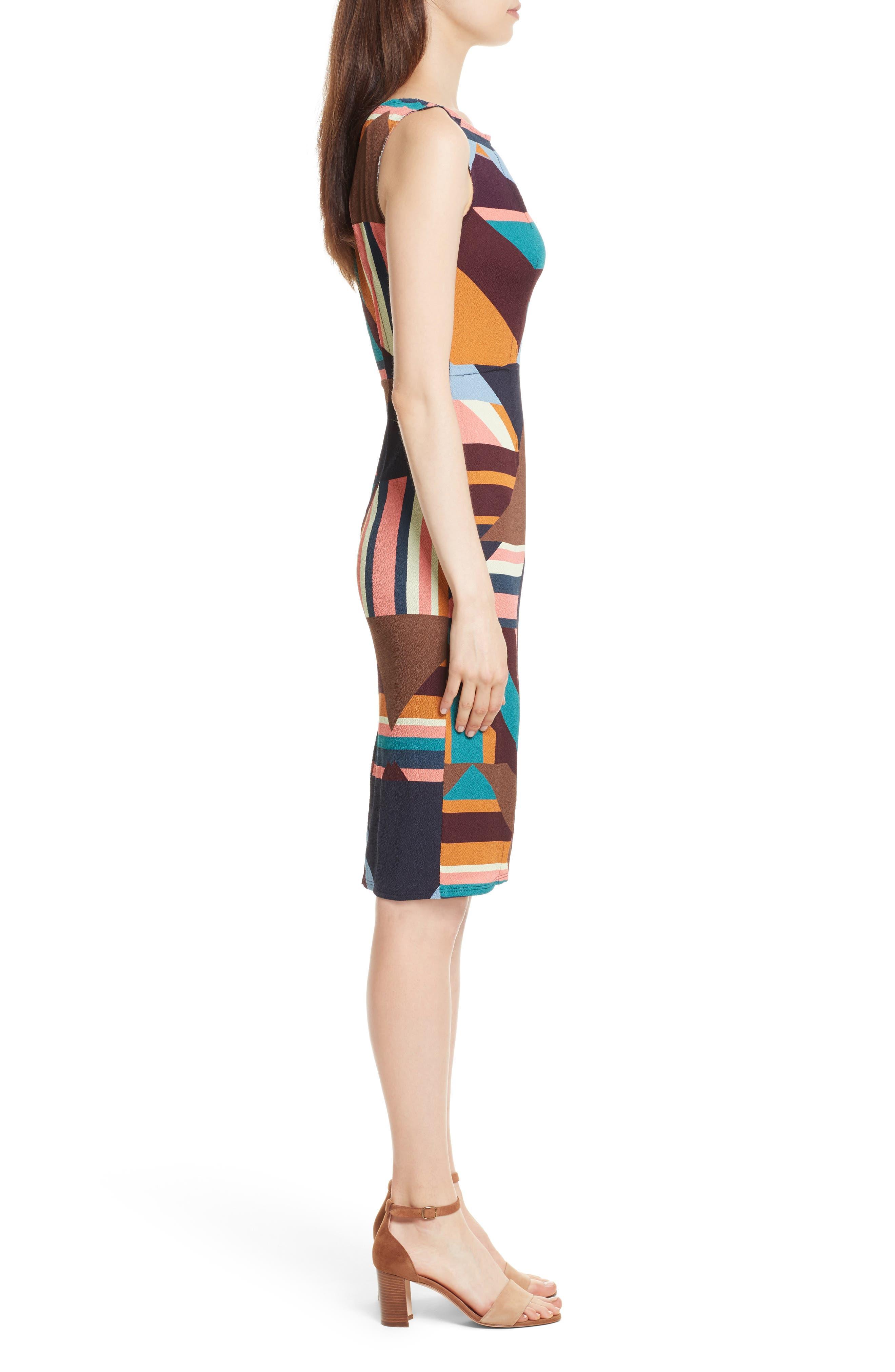 Print Stretch Silk Sheath Dress,                             Alternate thumbnail 3, color,                             244
