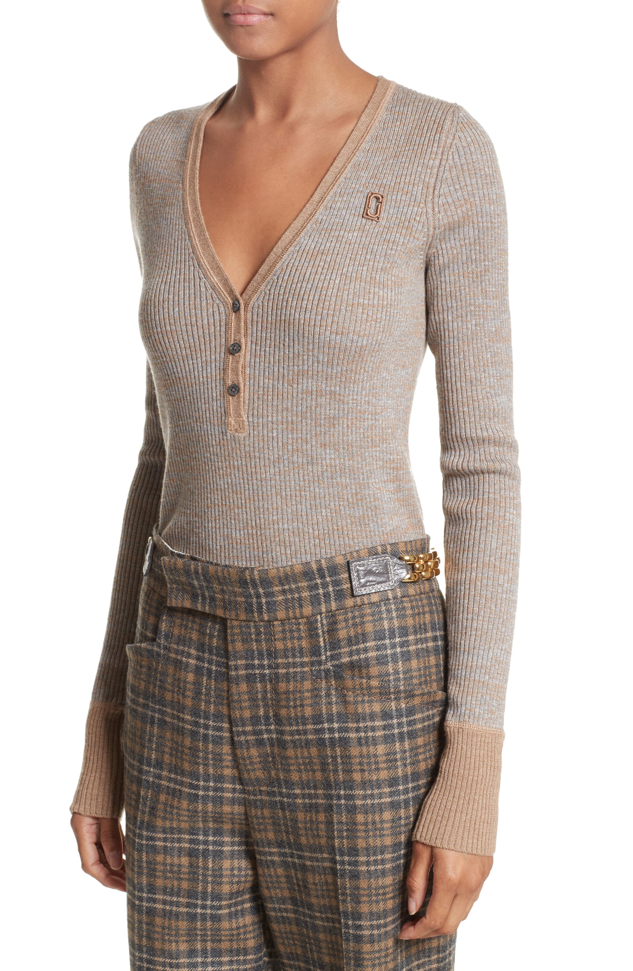 Ribbed V-Neck Wool Sweater,                             Alternate thumbnail 4, color,                             208
