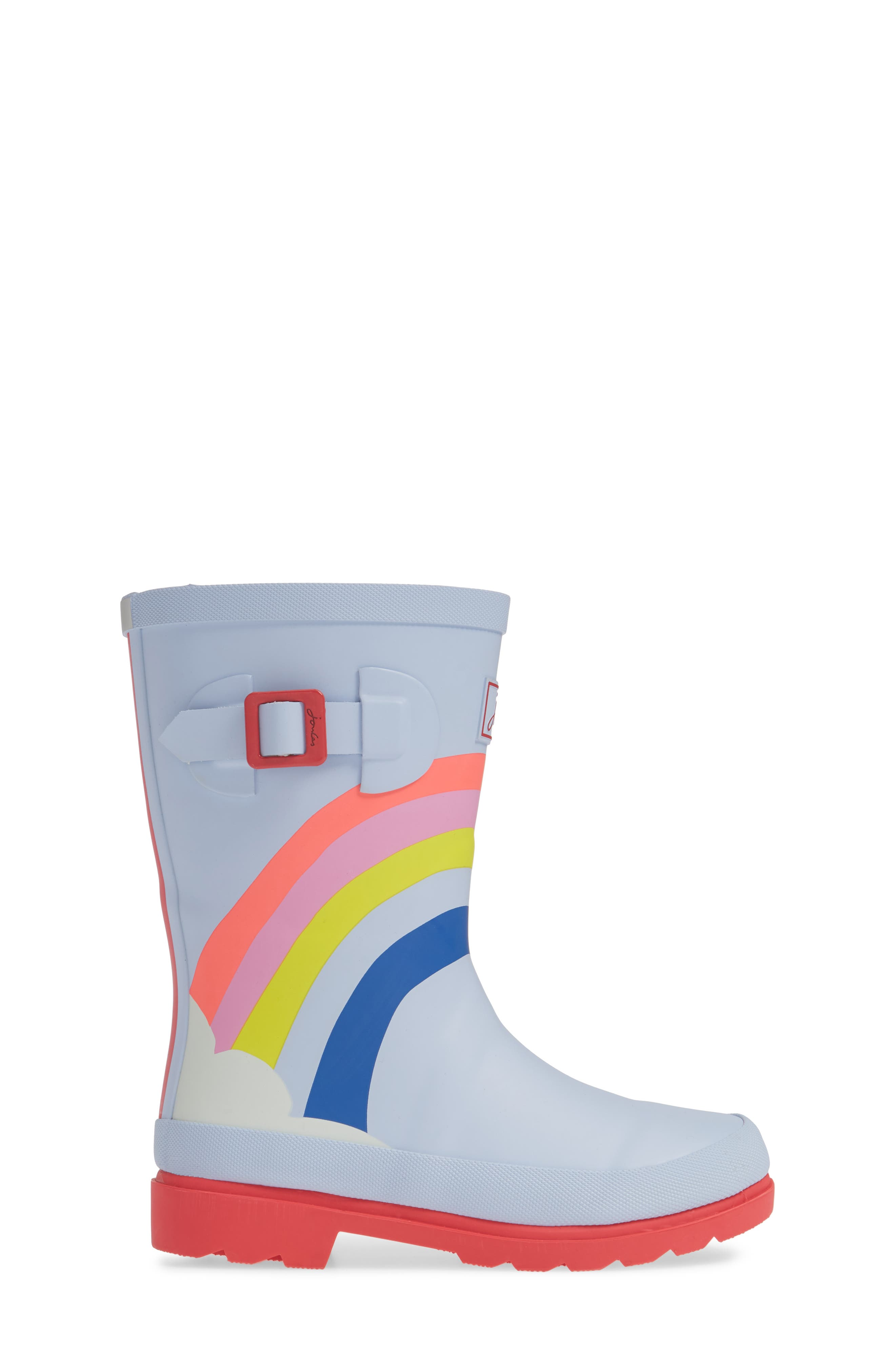 Mid Height Print Welly Waterproof Rain Boot,                             Alternate thumbnail 3, color,                             BLUE RAINBOW