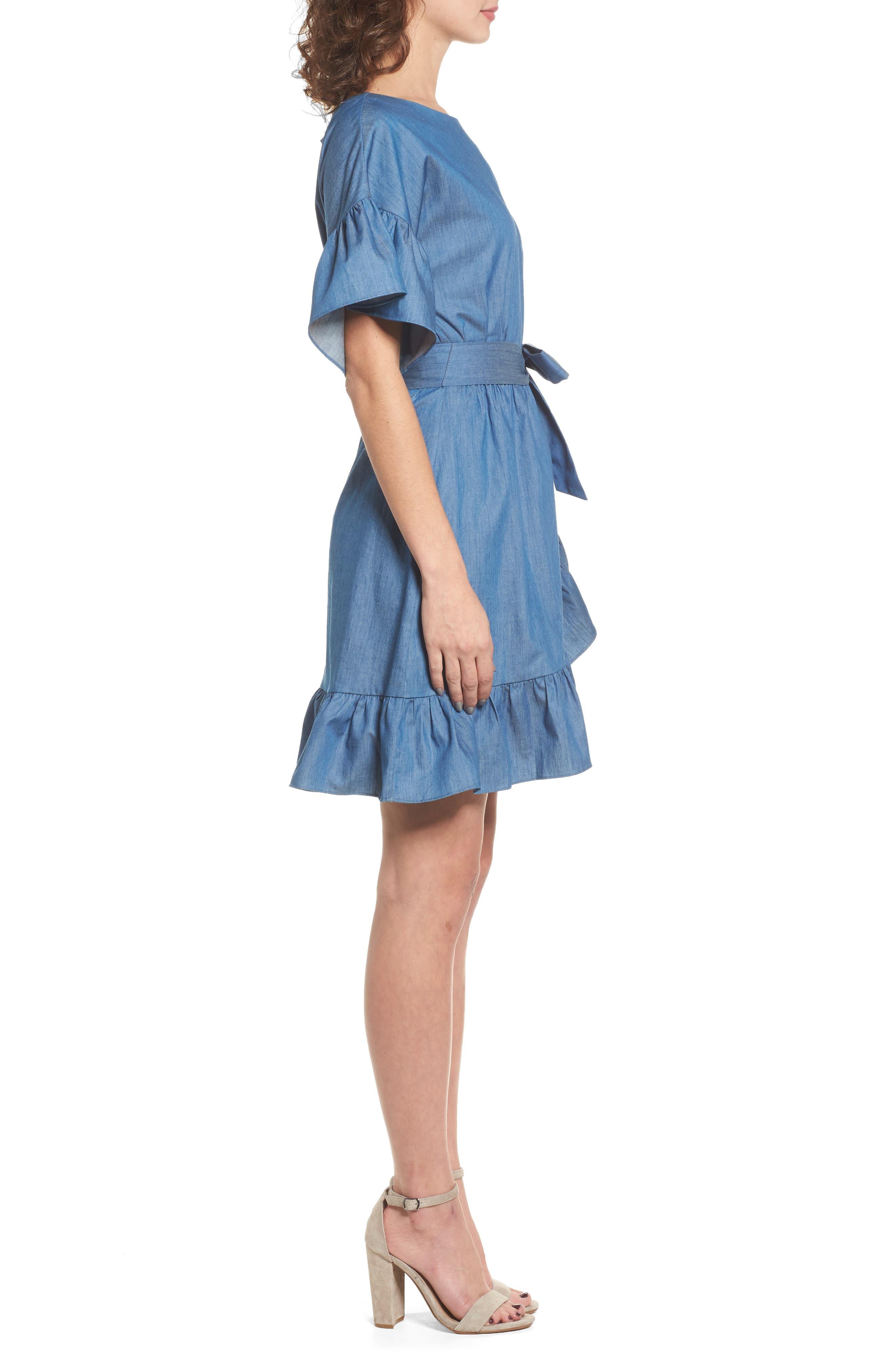 Ruffle Denim Wrap Dress,                             Alternate thumbnail 3, color,                             405