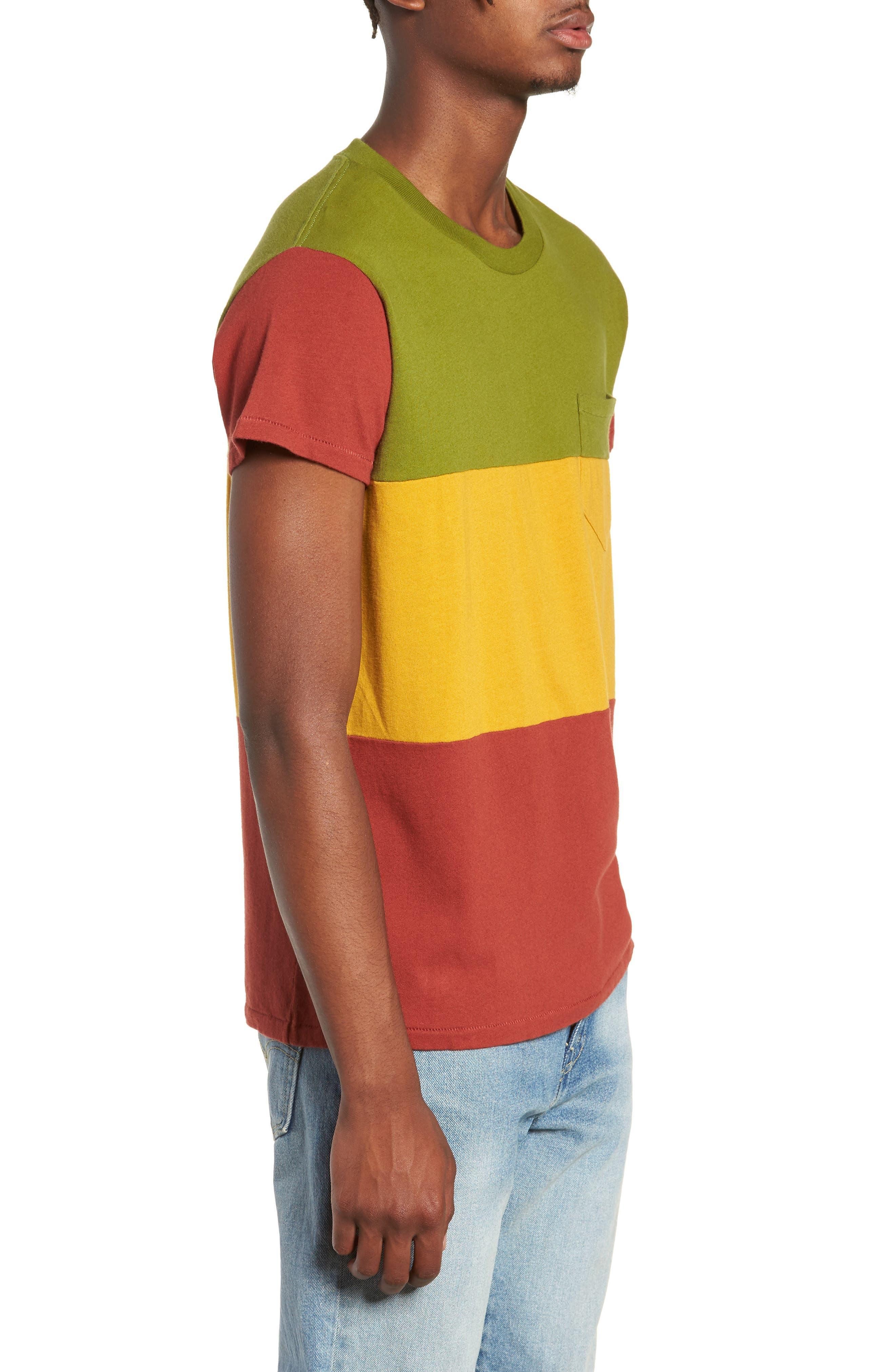 1950s Slim Fit Colorblock T-Shirt,                             Alternate thumbnail 3, color,                             3 WAY MULTI STRIPE
