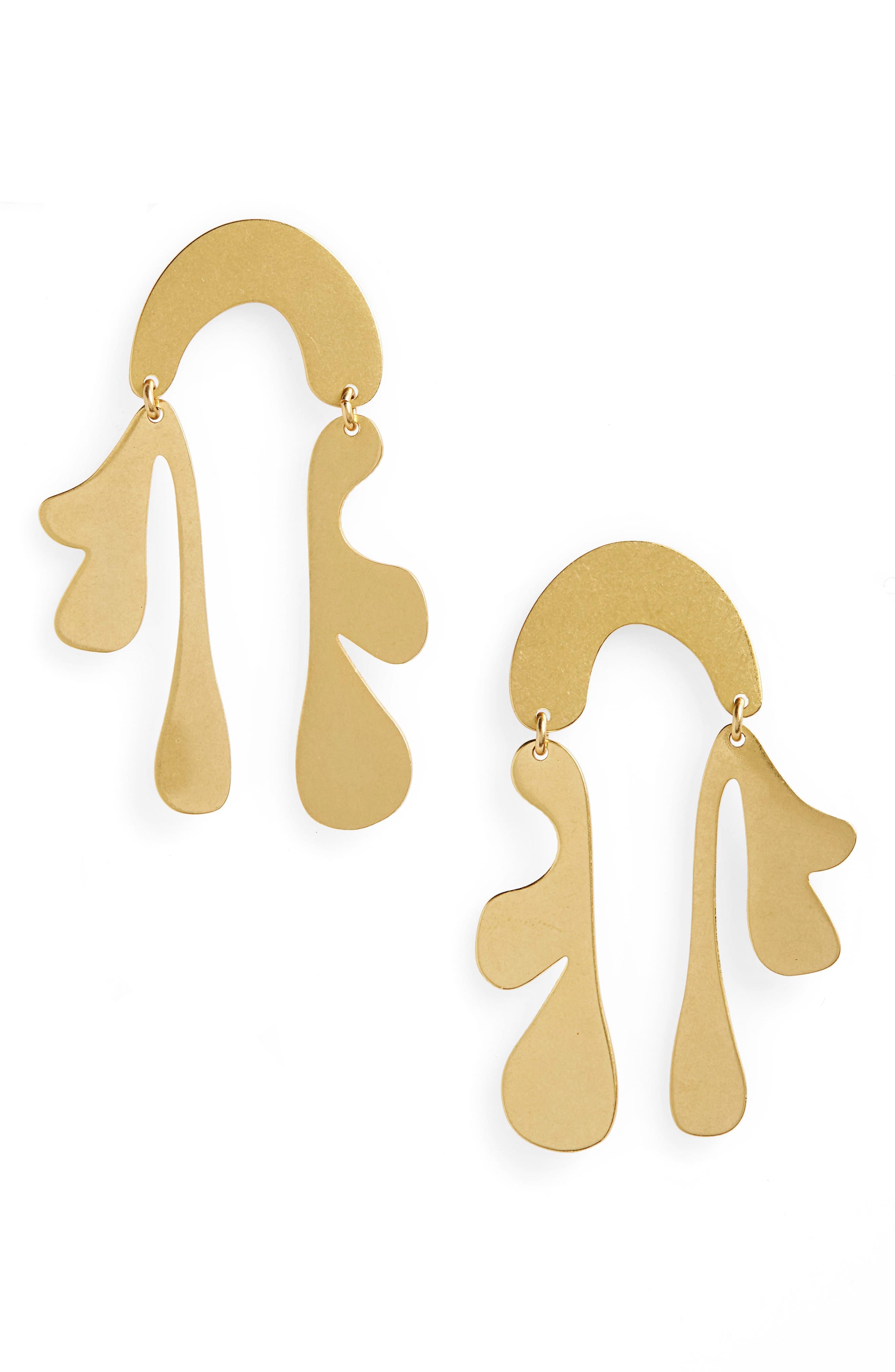 Fauve Statement Earrings,                             Main thumbnail 1, color,                             VINTAGE GOLD