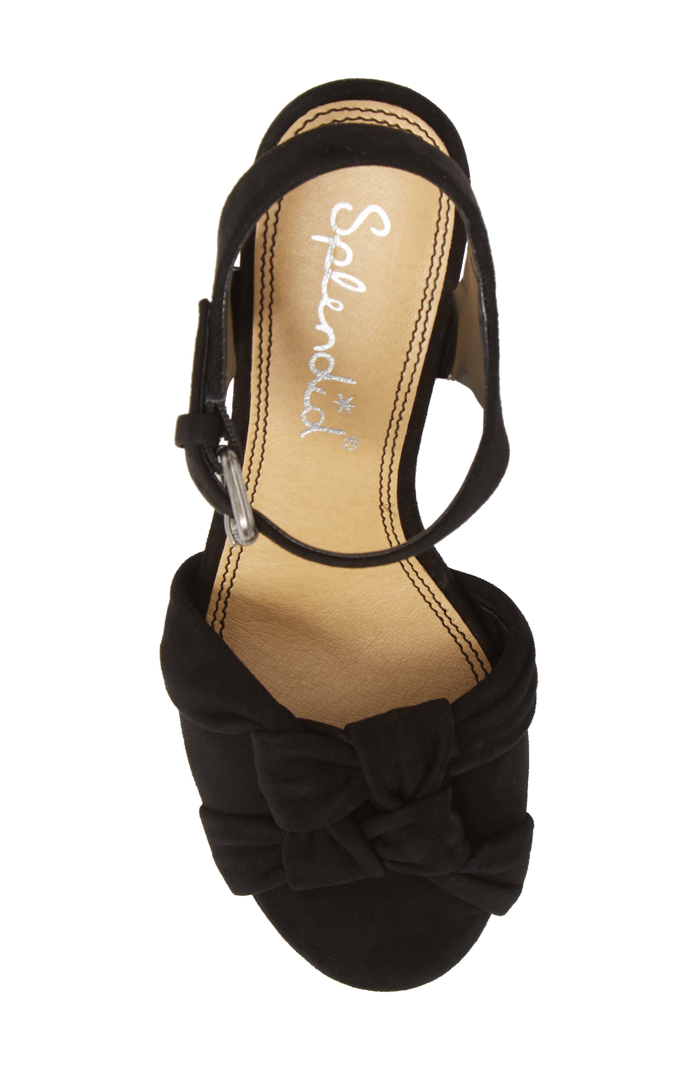 Nada Platform Wedge Sandal,                             Alternate thumbnail 5, color,                             BLACK SUEDE