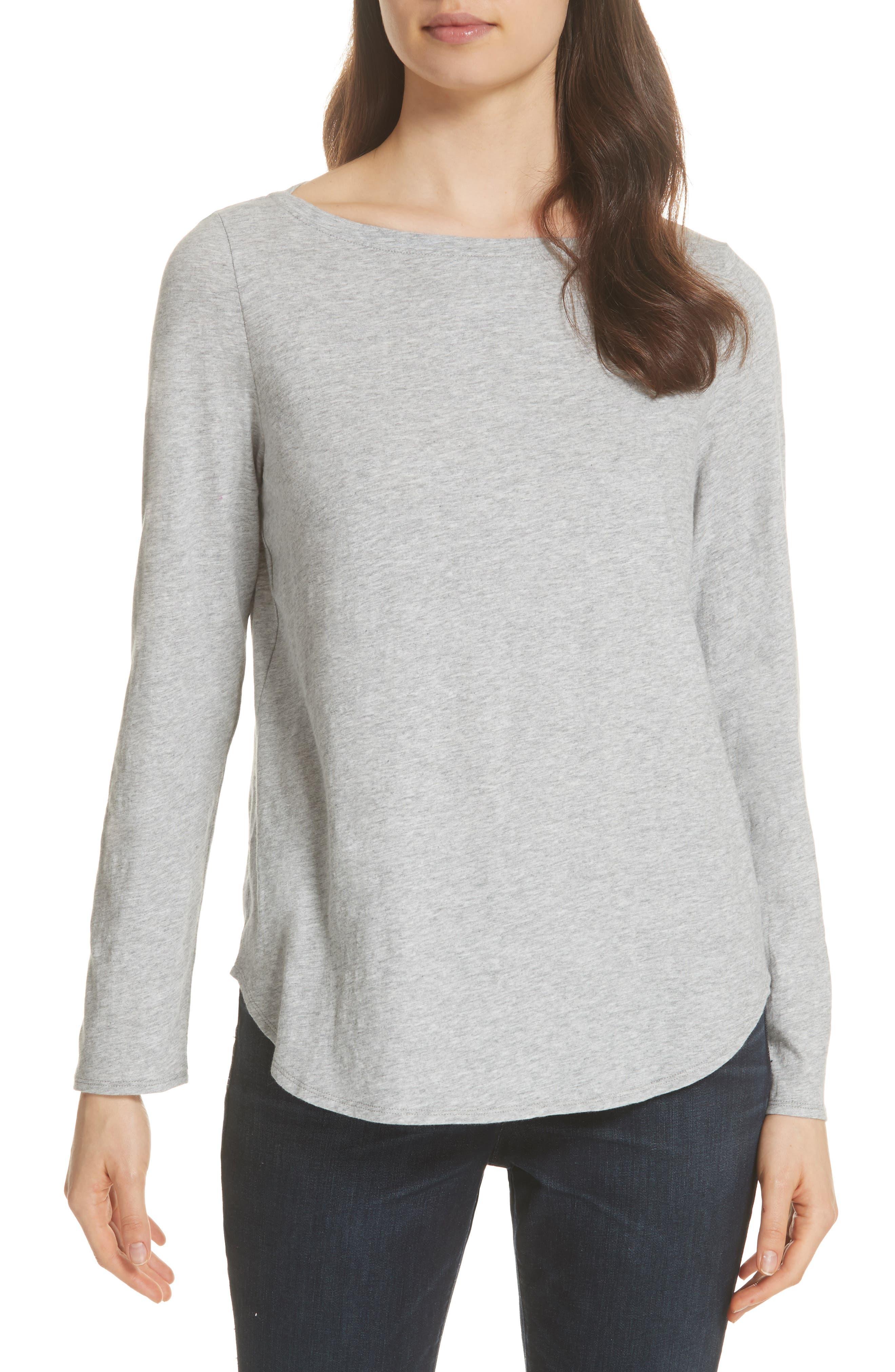 Eileen Fisher Long Sleeve Organic Cotton Tee, Grey