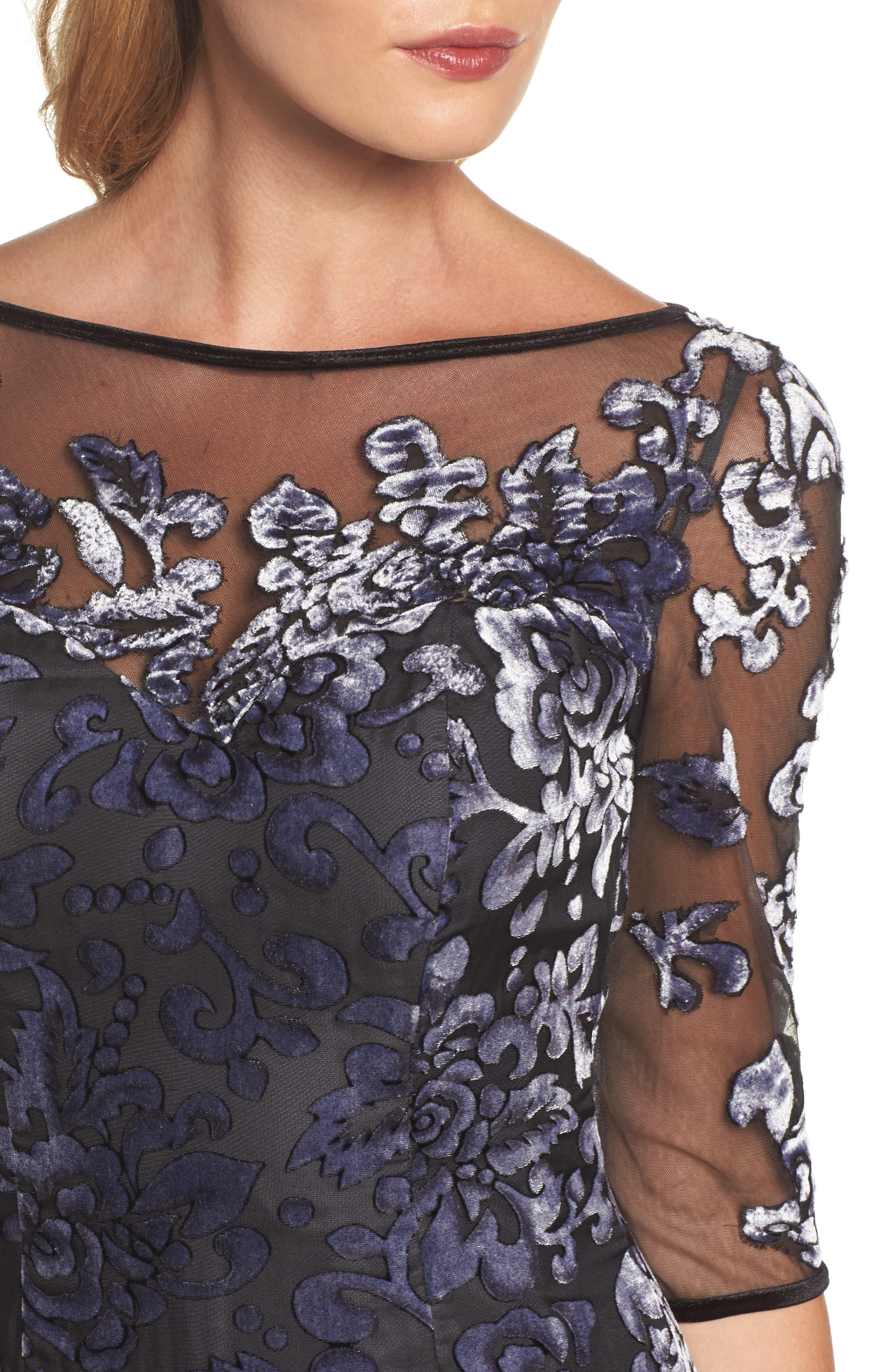 Burnout Velvet Gown,                             Alternate thumbnail 4, color,                             GUNMETAL