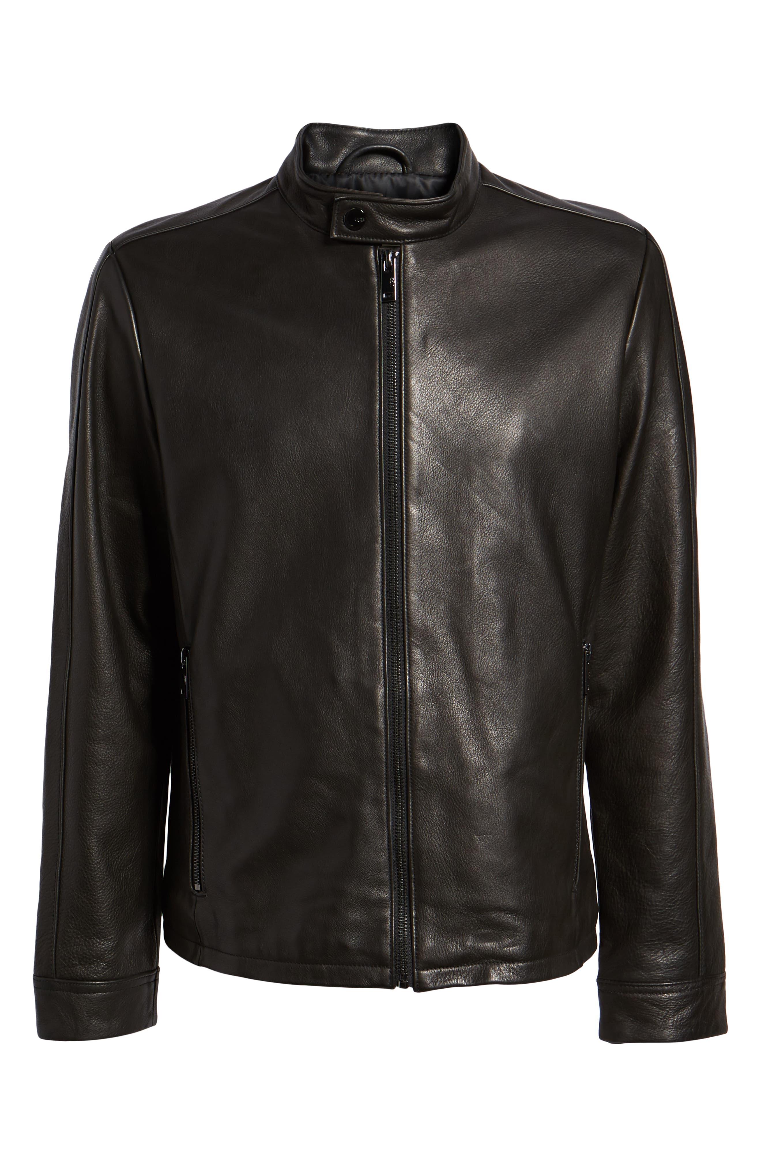 Orlando Leather Racer Coat,                             Alternate thumbnail 5, color,                             BLACK