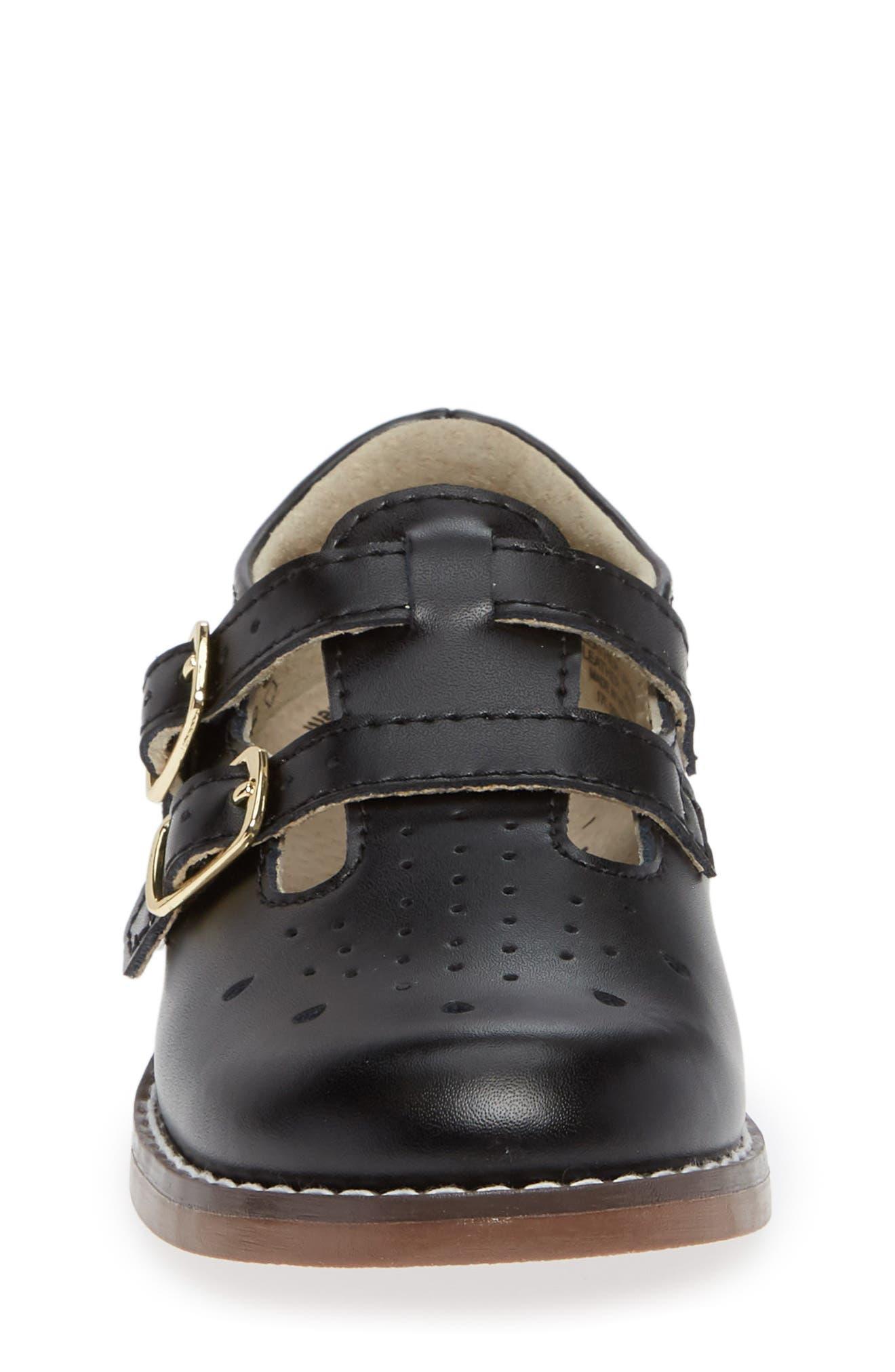 FOOTMATES,                             Danielle Double Strap Shoe,                             Alternate thumbnail 4, color,                             BLACK