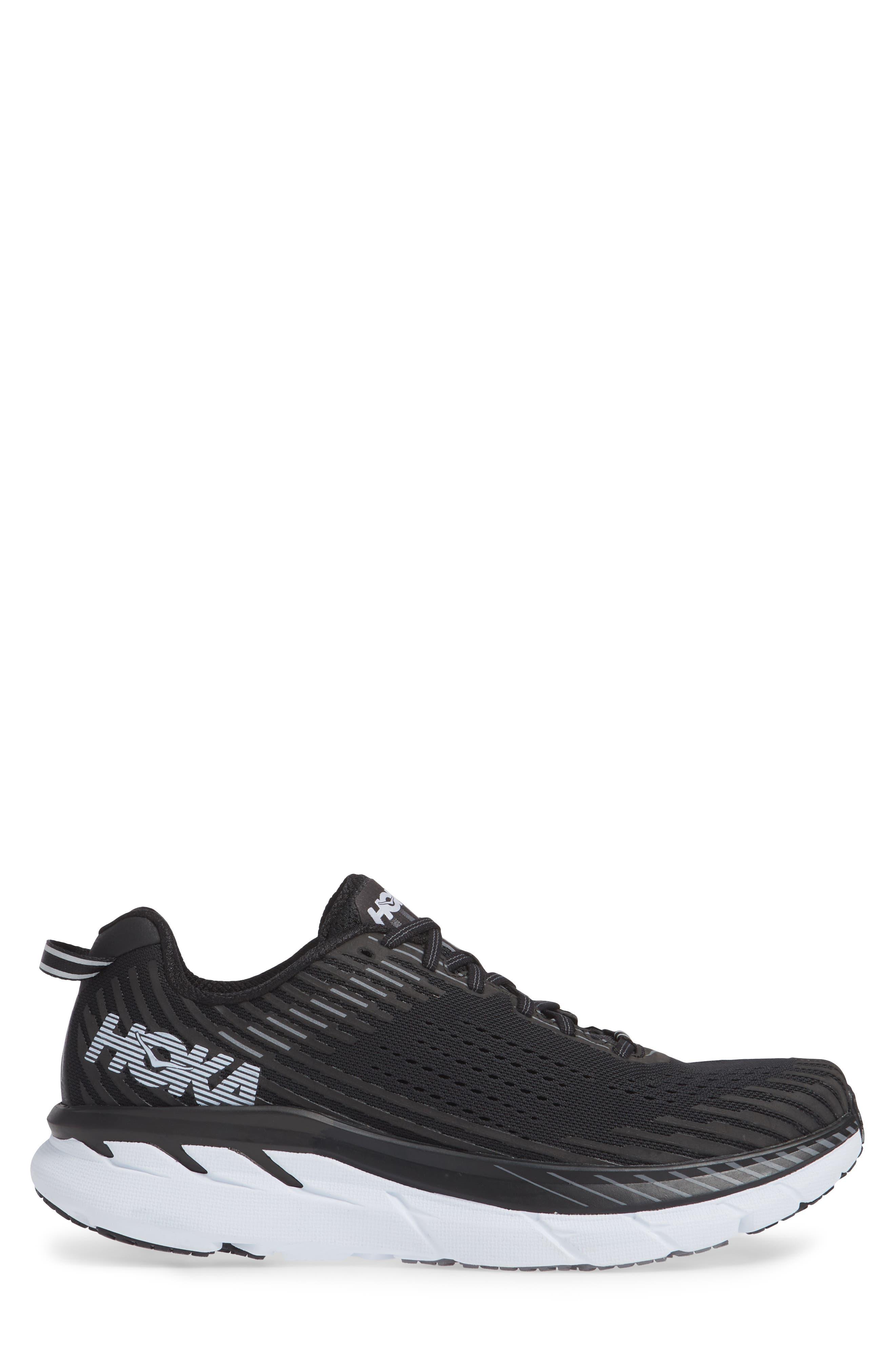 Clifton 5 Running Shoe,                             Alternate thumbnail 3, color,                             BLACK/ WHITE