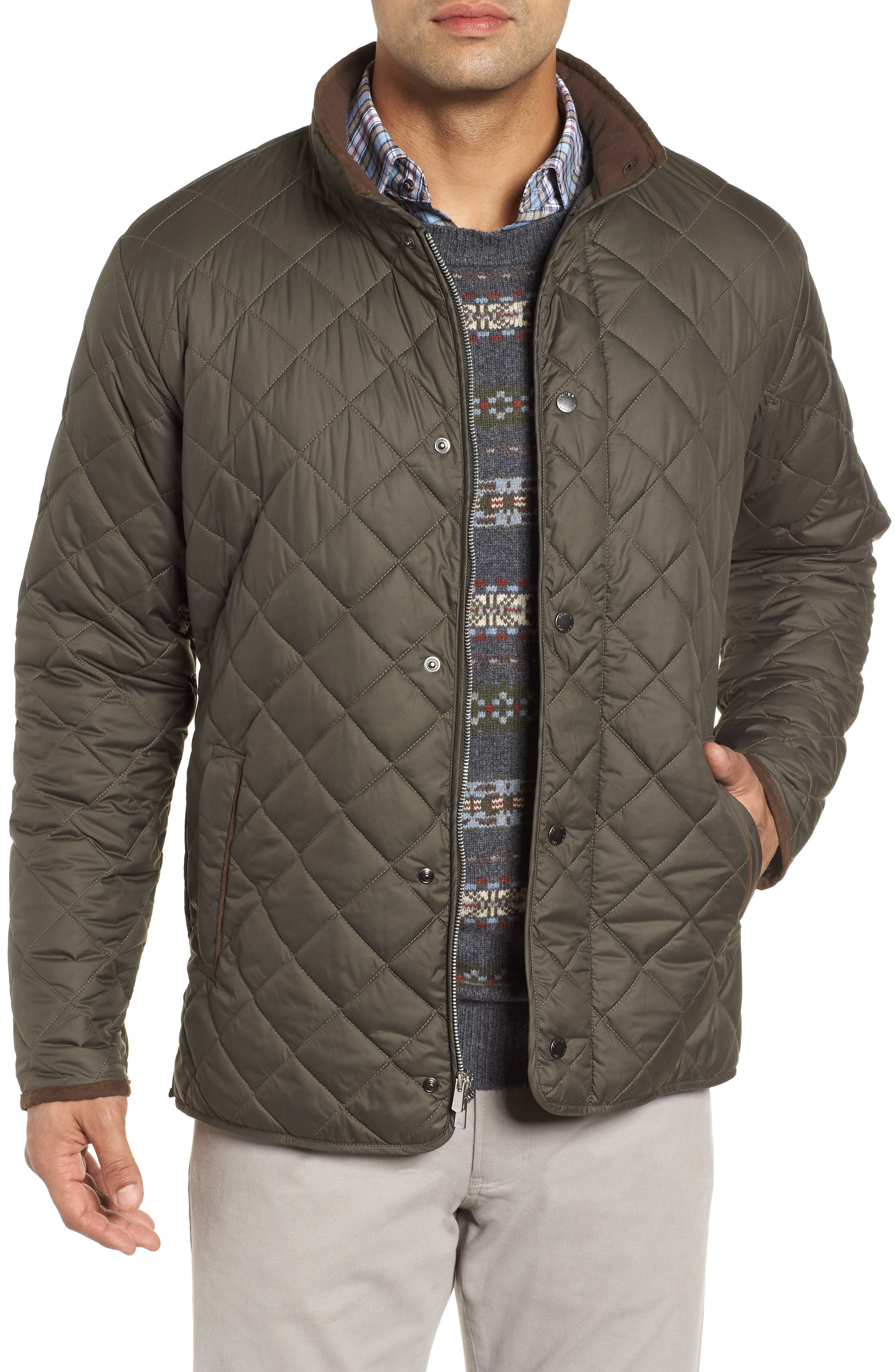 Suffolk Quilted Water-Resistant Car Coat,                         Main,                         color, OLIVE