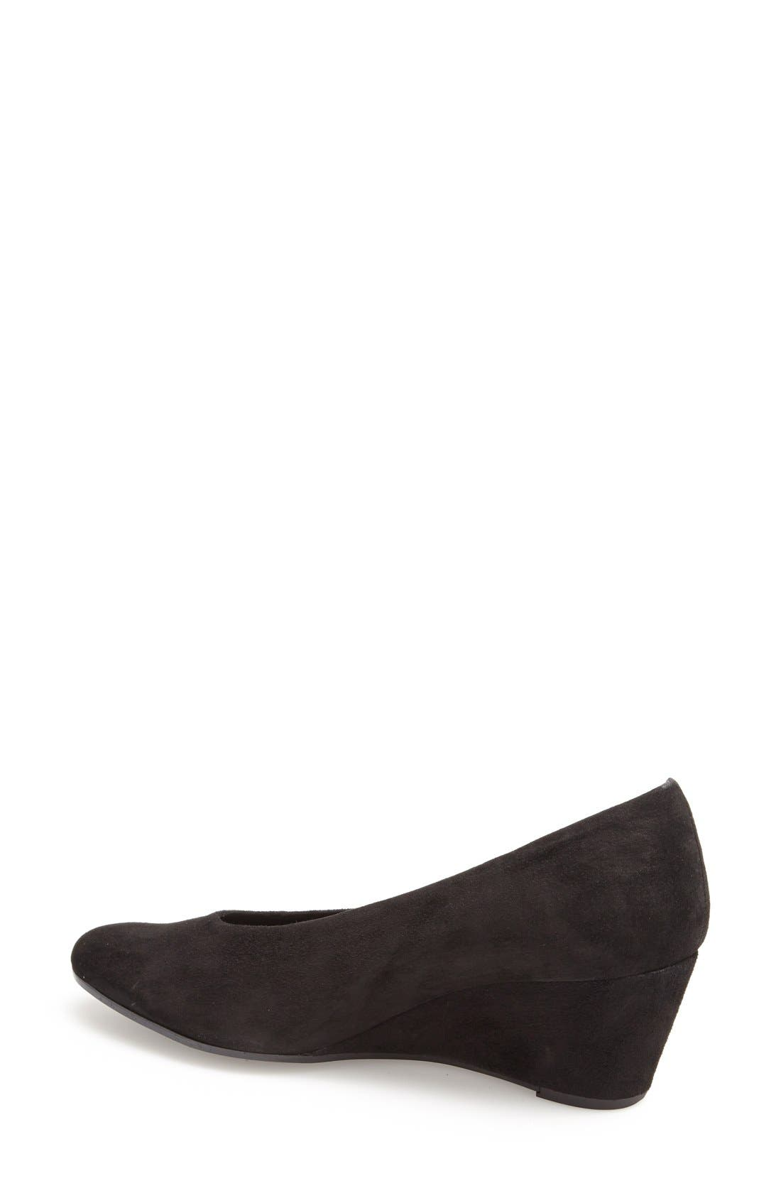 'Dilys' Wedge Pump,                             Alternate thumbnail 2, color,                             BLACK SUEDE