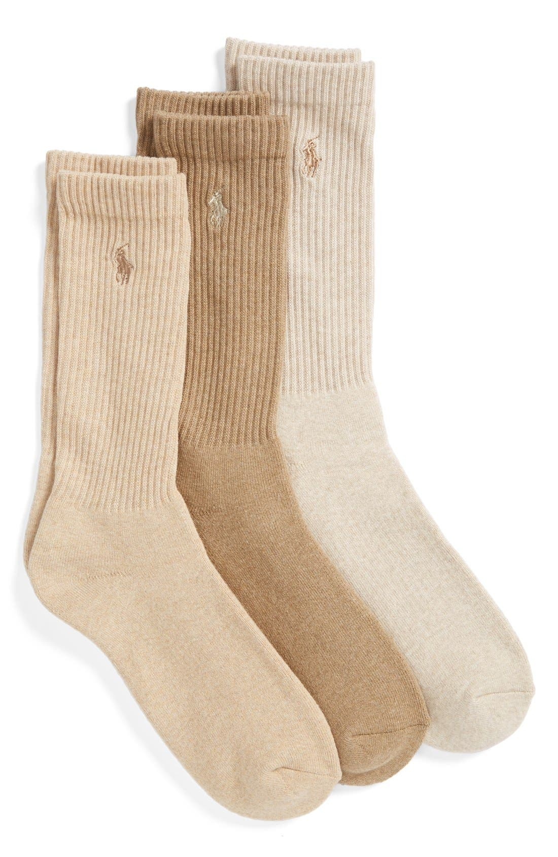 3-Pack Crew Socks,                             Main thumbnail 1, color,                             TAUPE/ OYSTER/ BEIGE