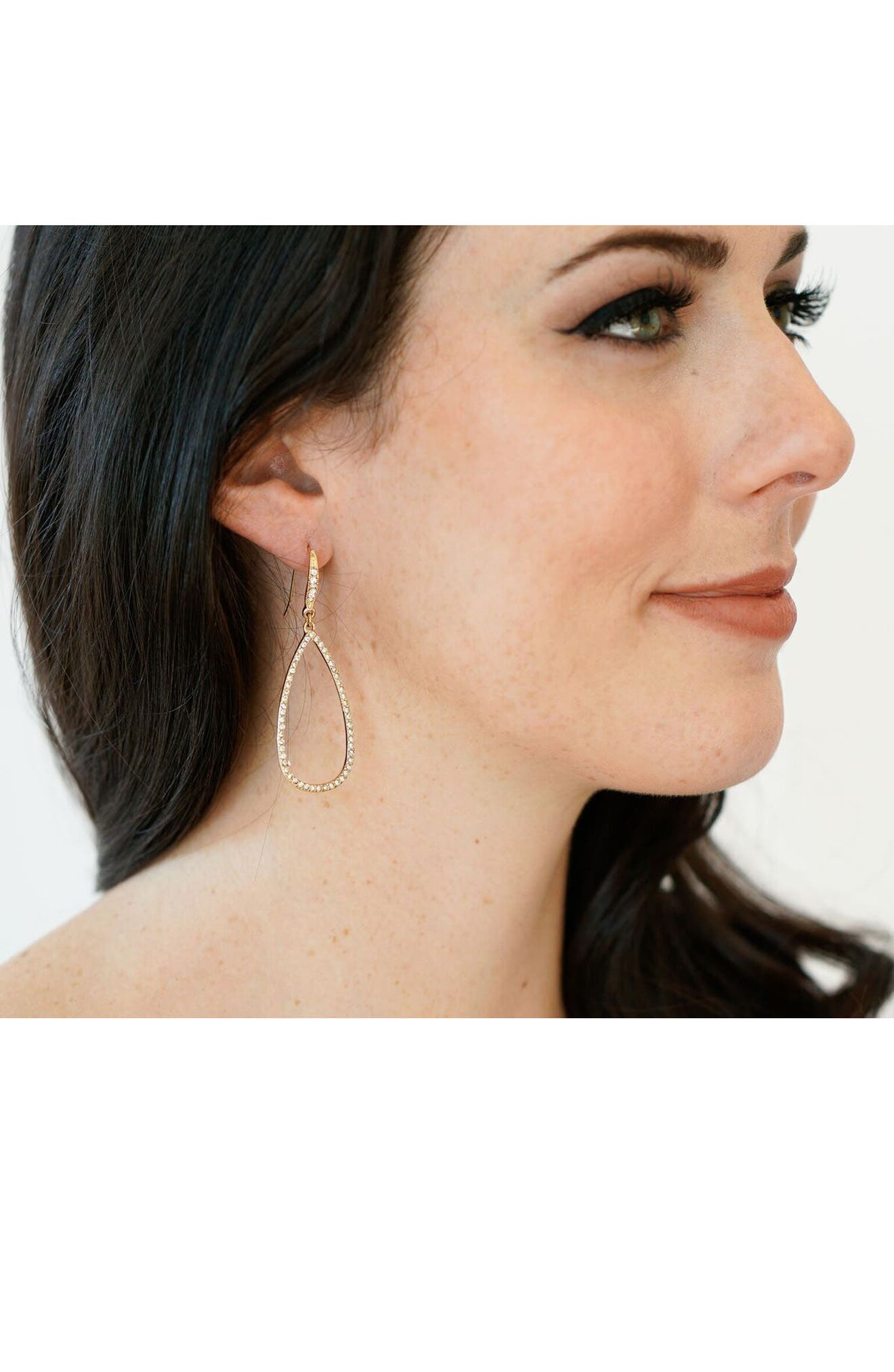 Crystal Teardrop Earrings,                             Alternate thumbnail 3, color,                             710