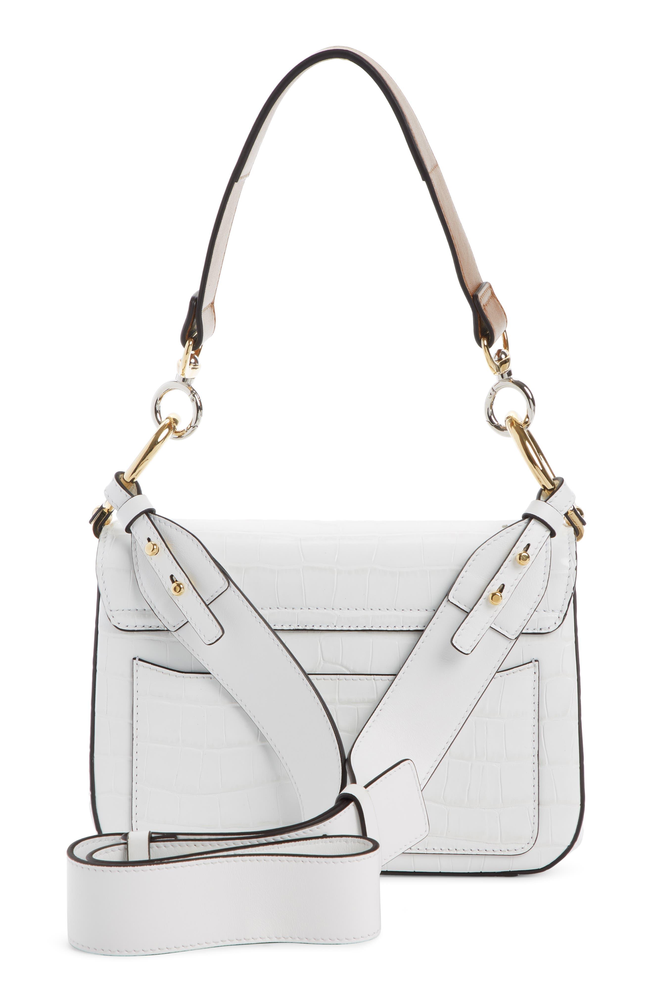 Croc Embossed Leather Shoulder Bag,                             Alternate thumbnail 2, color,                             BRILLIANT WHITE