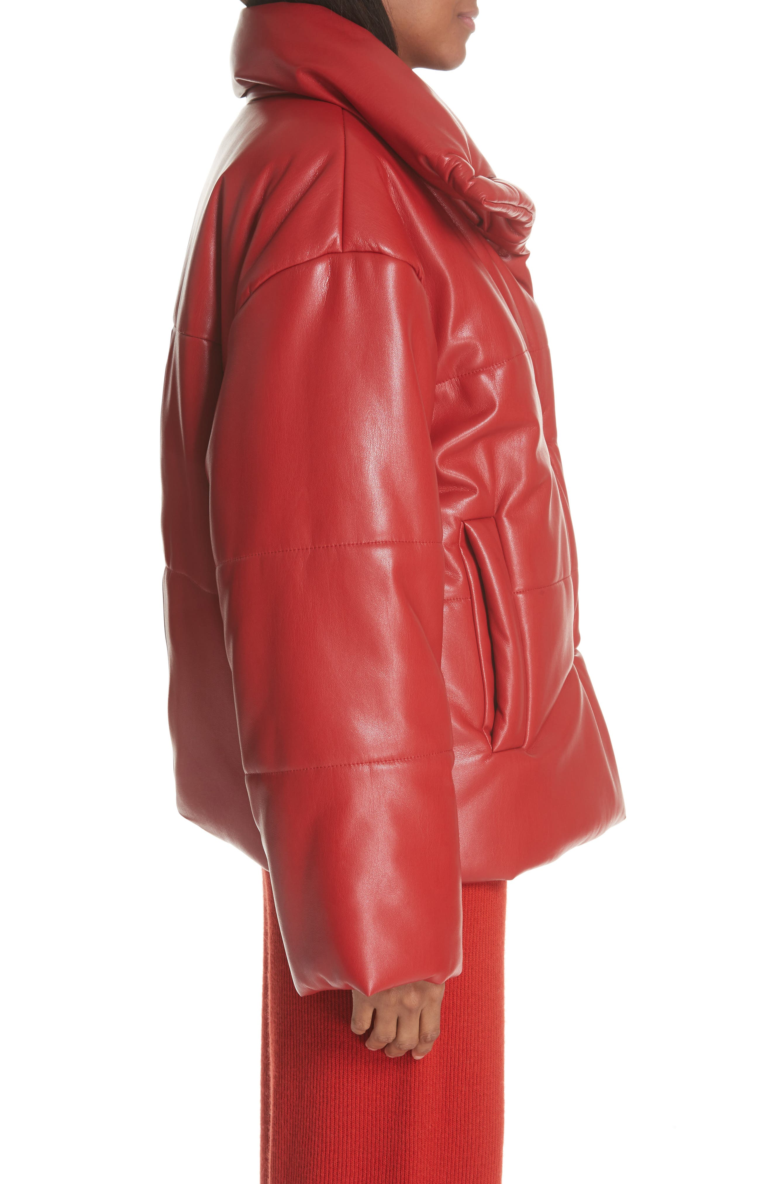 Hide Faux Leather Puffer Jacket,                             Alternate thumbnail 3, color,                             RED