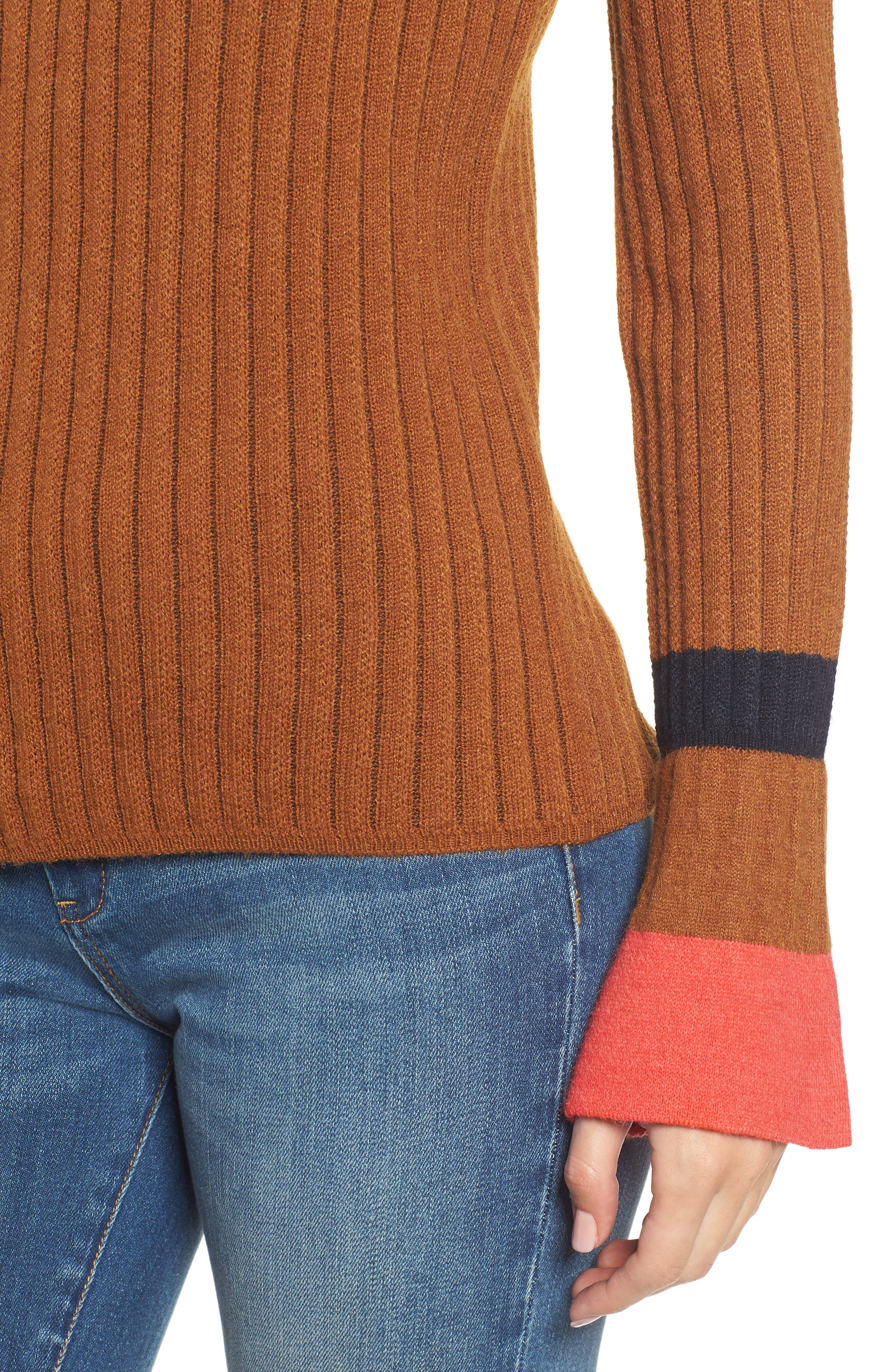 Stripe Bell Sleeve Sweater,                             Alternate thumbnail 4, color,                             CHOCOLATE
