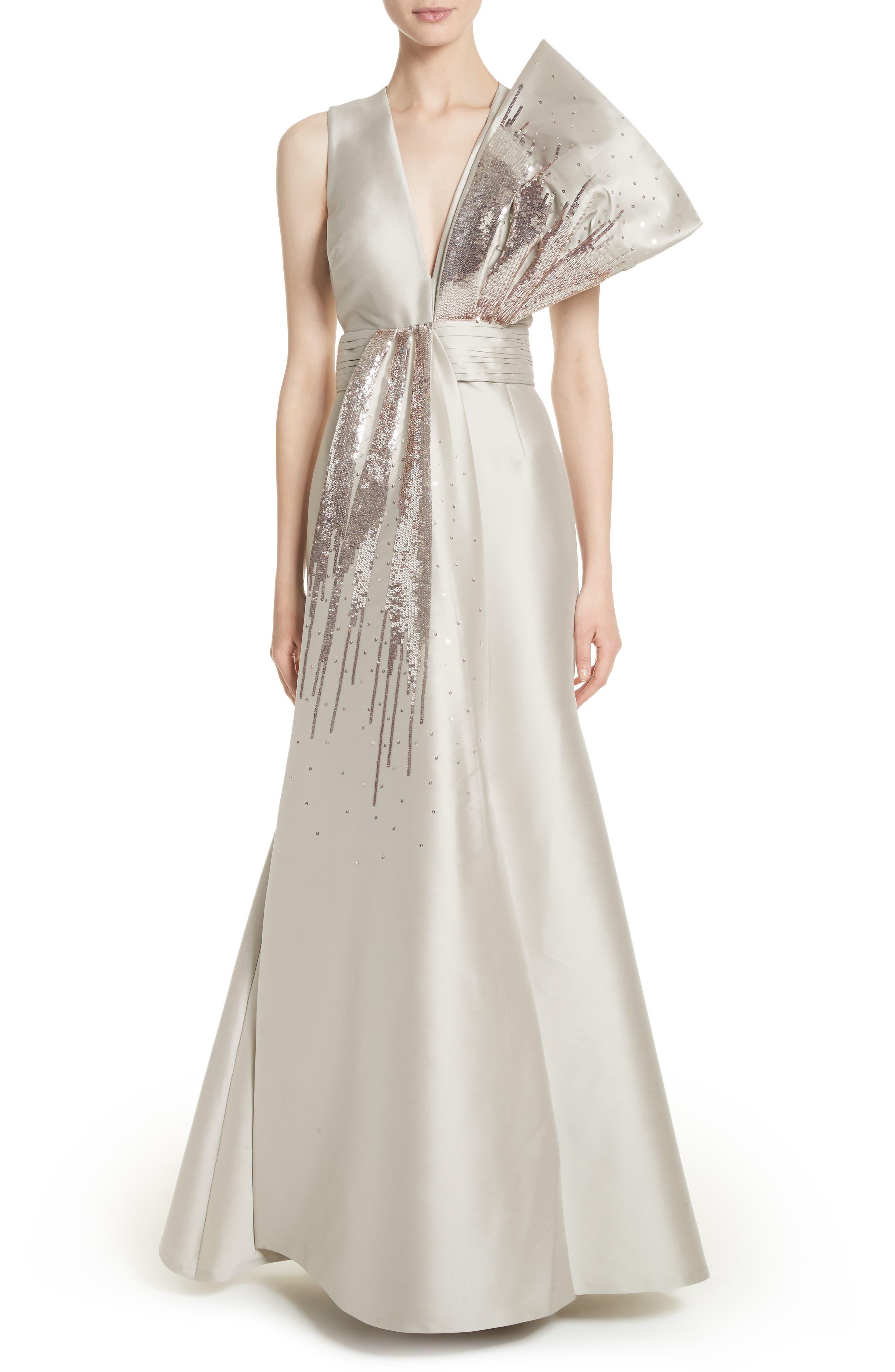 Noir Embellished V-Neck Gown,                             Main thumbnail 1, color,                             250