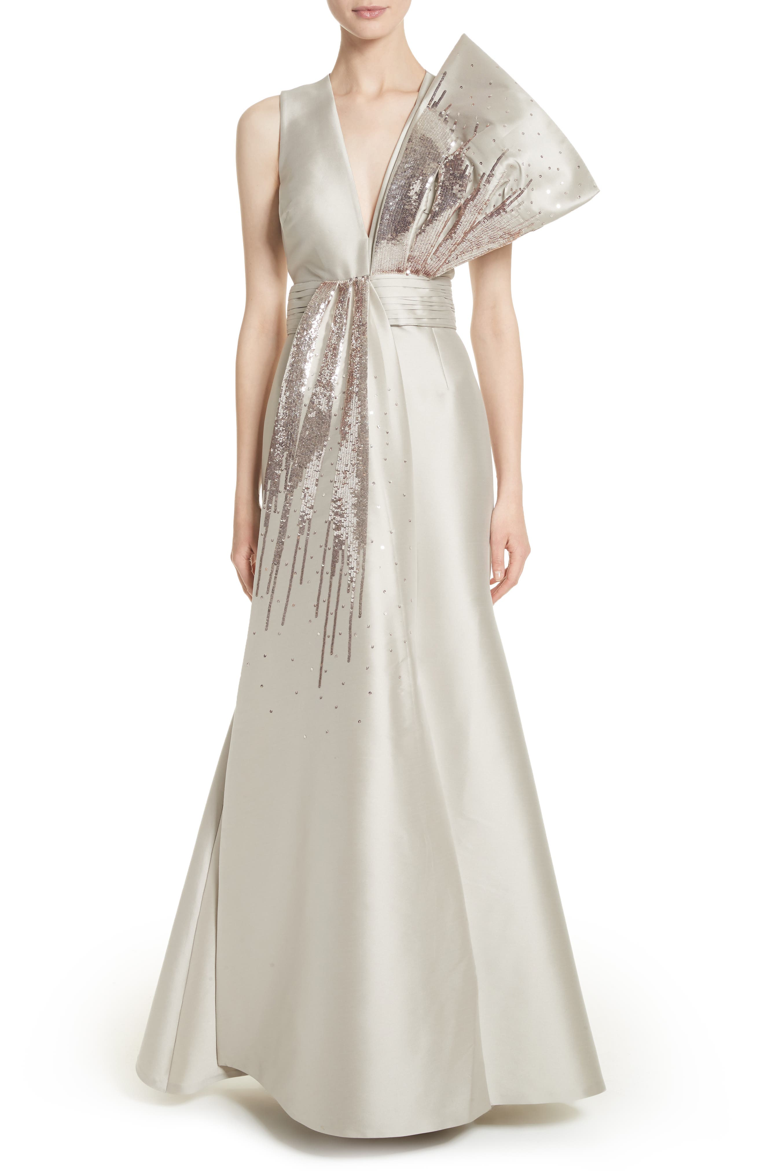 Noir Embellished V-Neck Gown,                         Main,                         color, 250