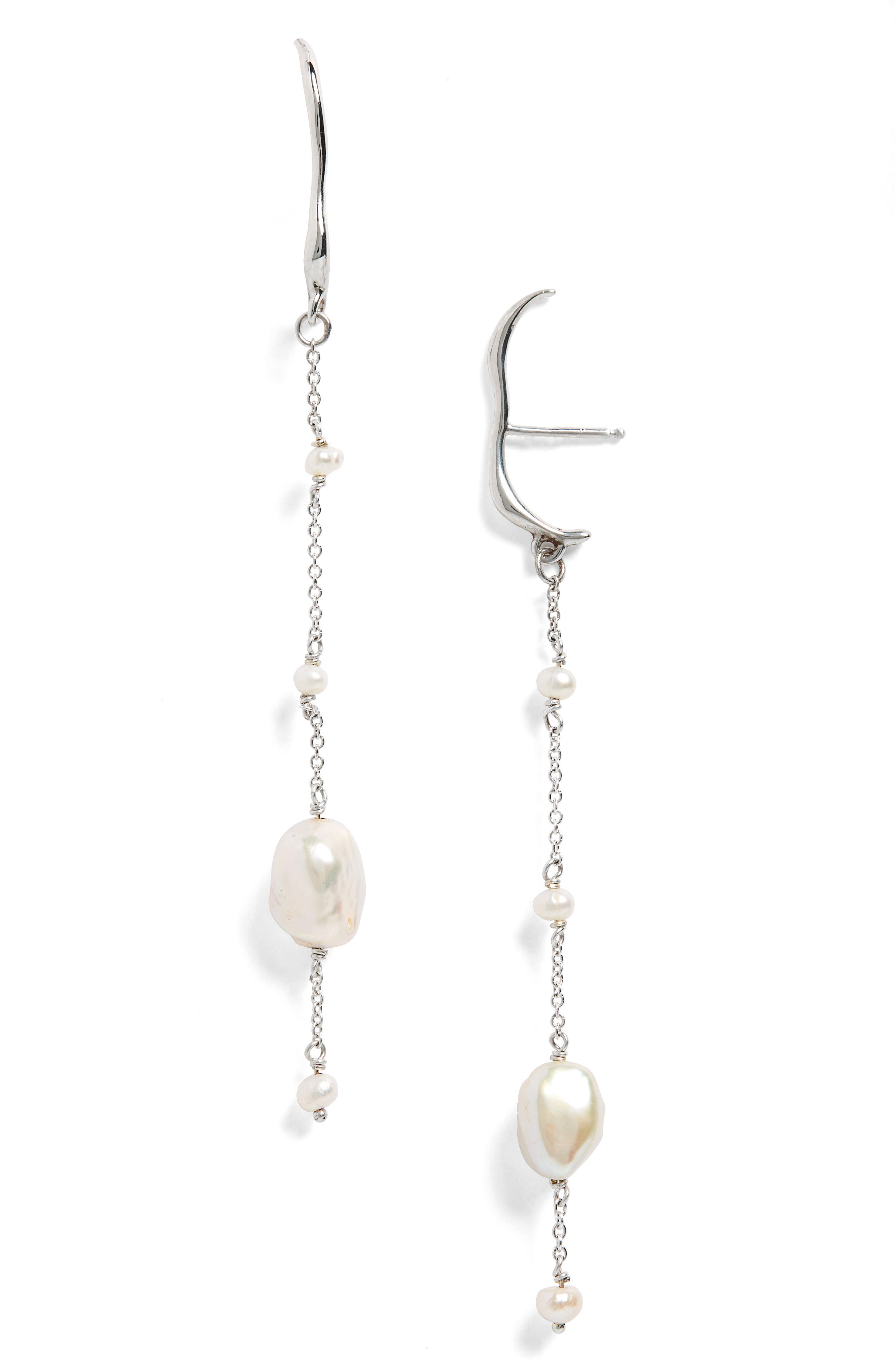 Aura Cultured Pearl Drop Earrings,                             Main thumbnail 1, color,                             STERLING SILVER/ WHITE PEARL