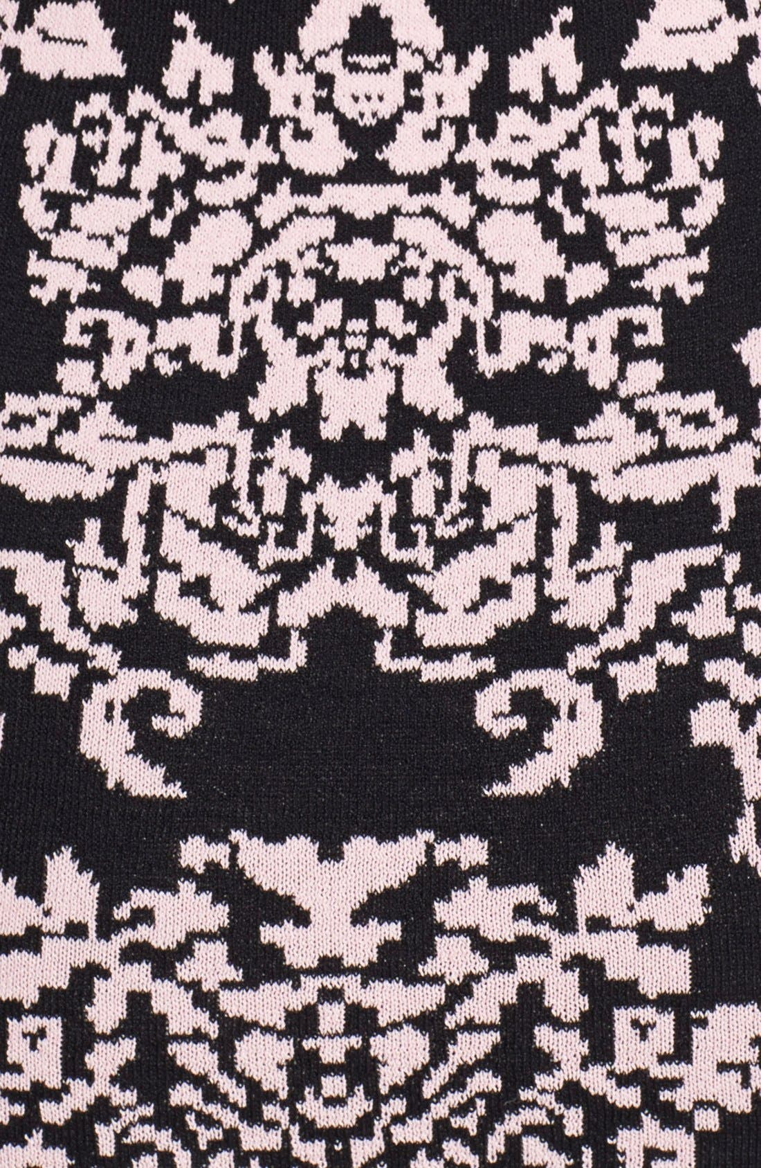 Jacquard Knit Body-Con Dress,                             Alternate thumbnail 3, color,                             650